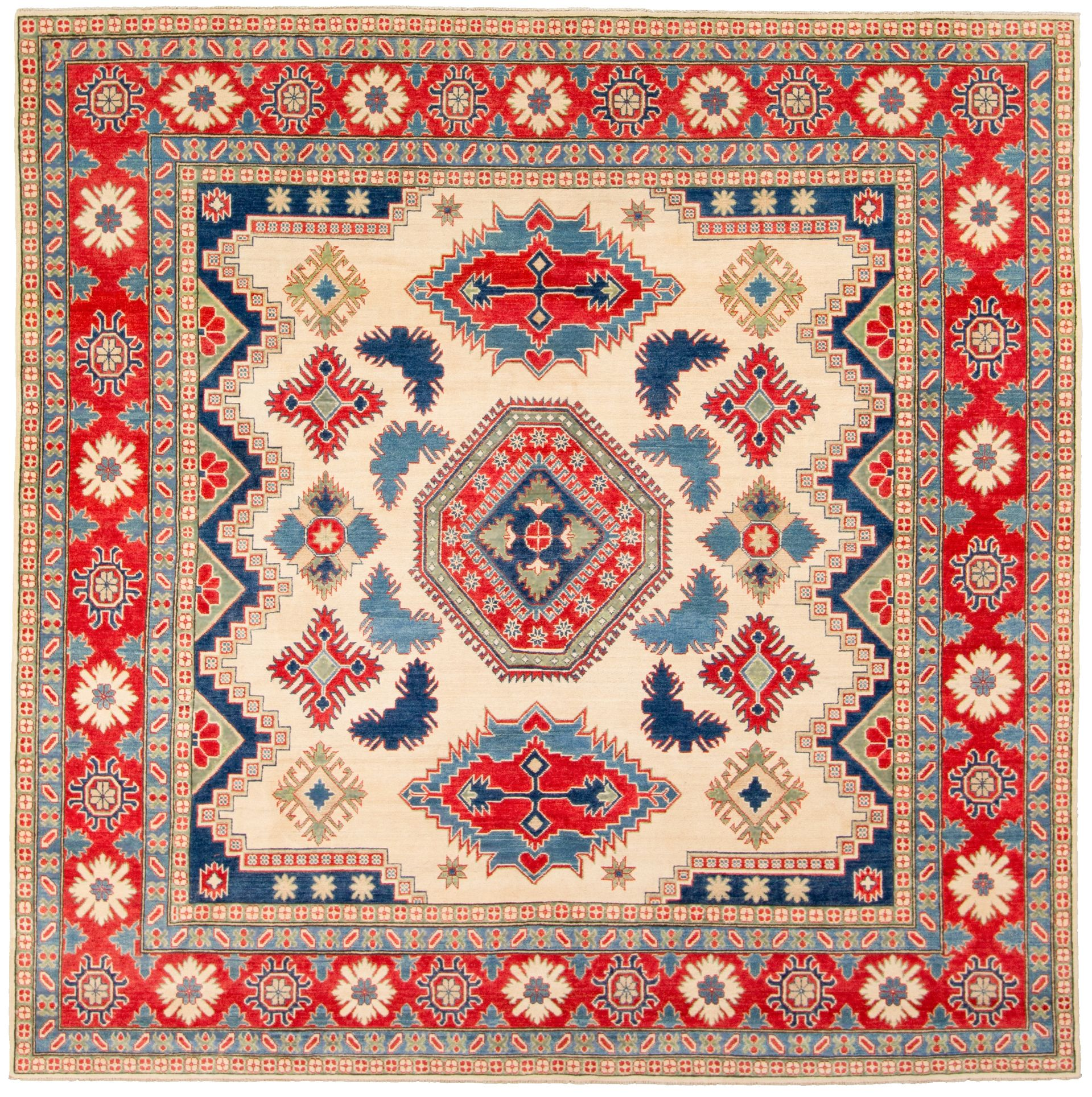 """Hand-knotted Finest Gazni Beige, Red  Rug 9'9"""" x 9'10"""" Size: 9'9"""" x 9'11"""""""
