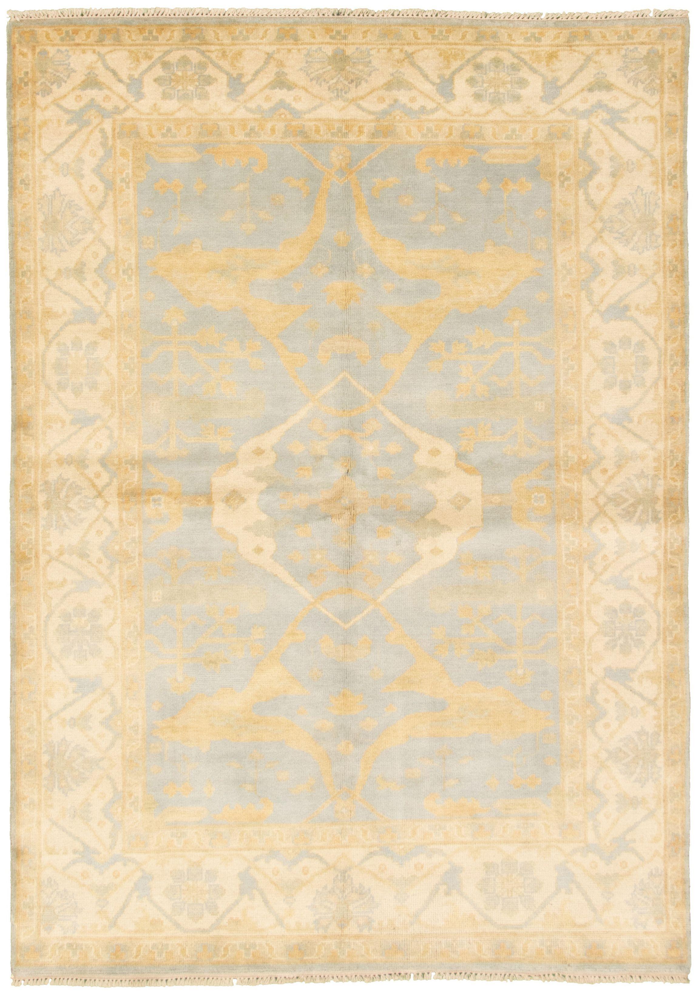 "Hand-knotted Royal Ushak Light Blue  Wool Rug 6'2"" x 8'10""  Size: 6'2"" x 8'10"""
