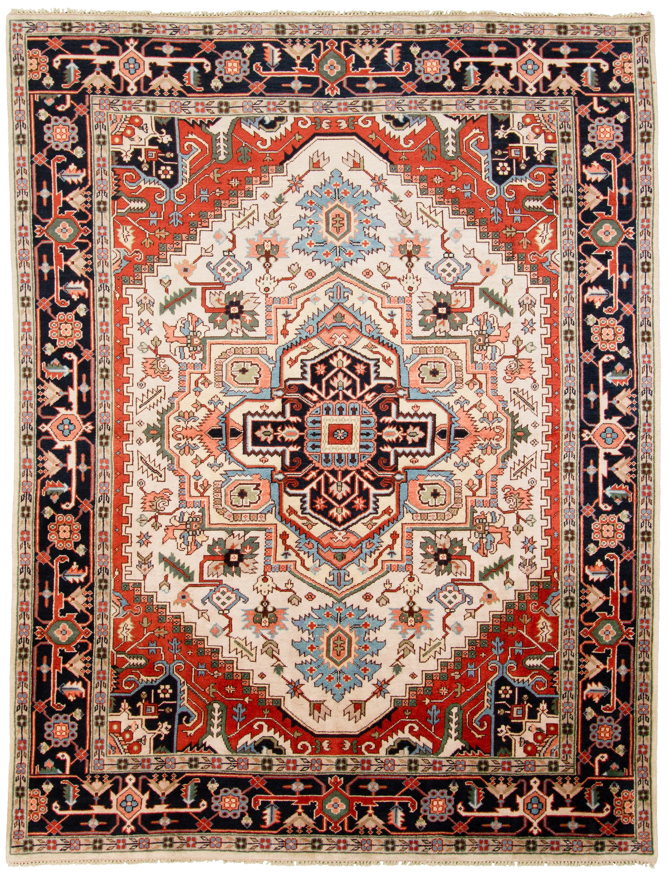 """Hand-knotted Serapi Heritage Blue, Ivory  Rug 8'11"""" x 11'9"""" Size: 8'11"""" x 11'9"""""""