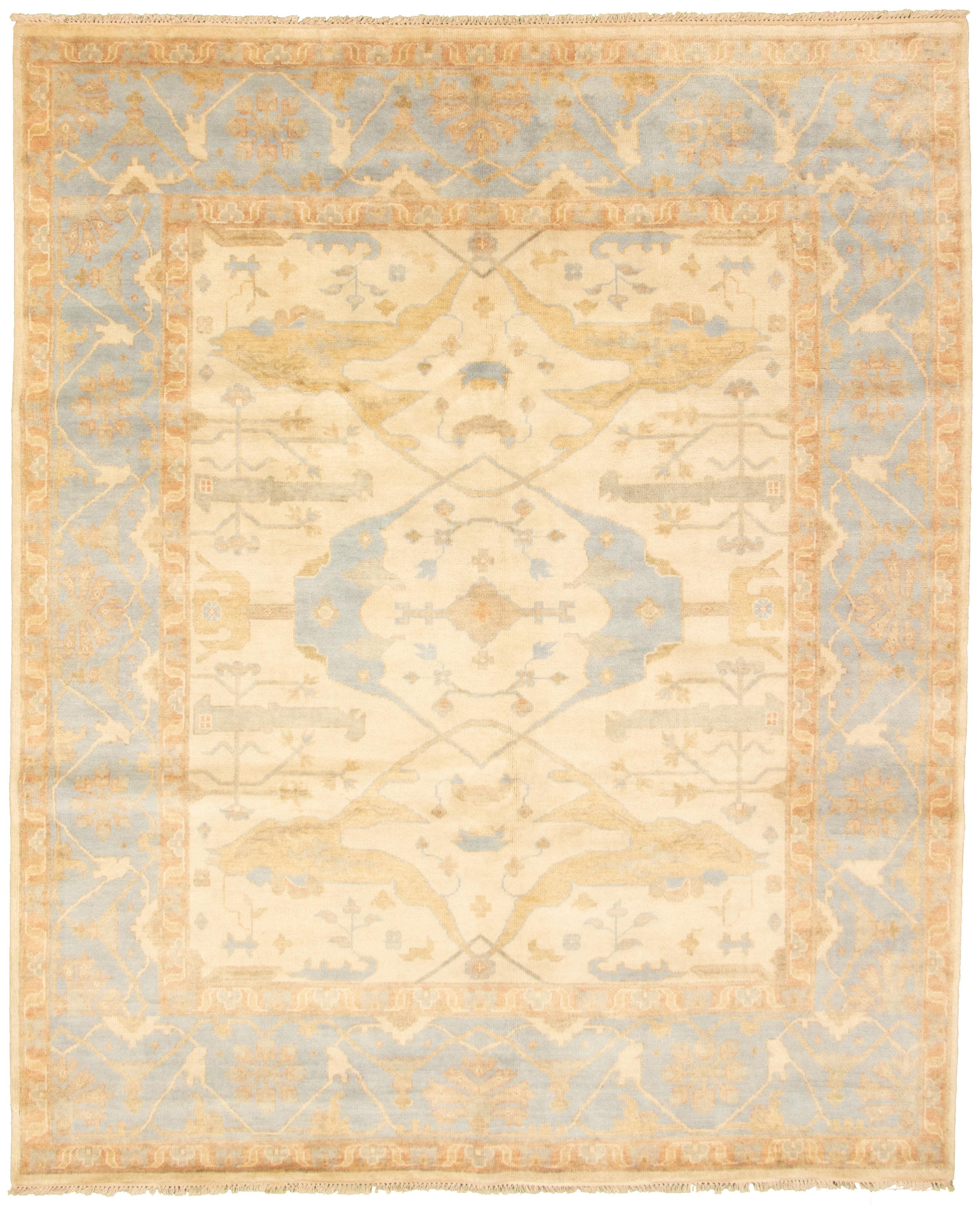 "Hand-knotted Royal Ushak Cream Wool Rug 8'3"" x 10'1""  Size: 8'3"" x 10'1"""
