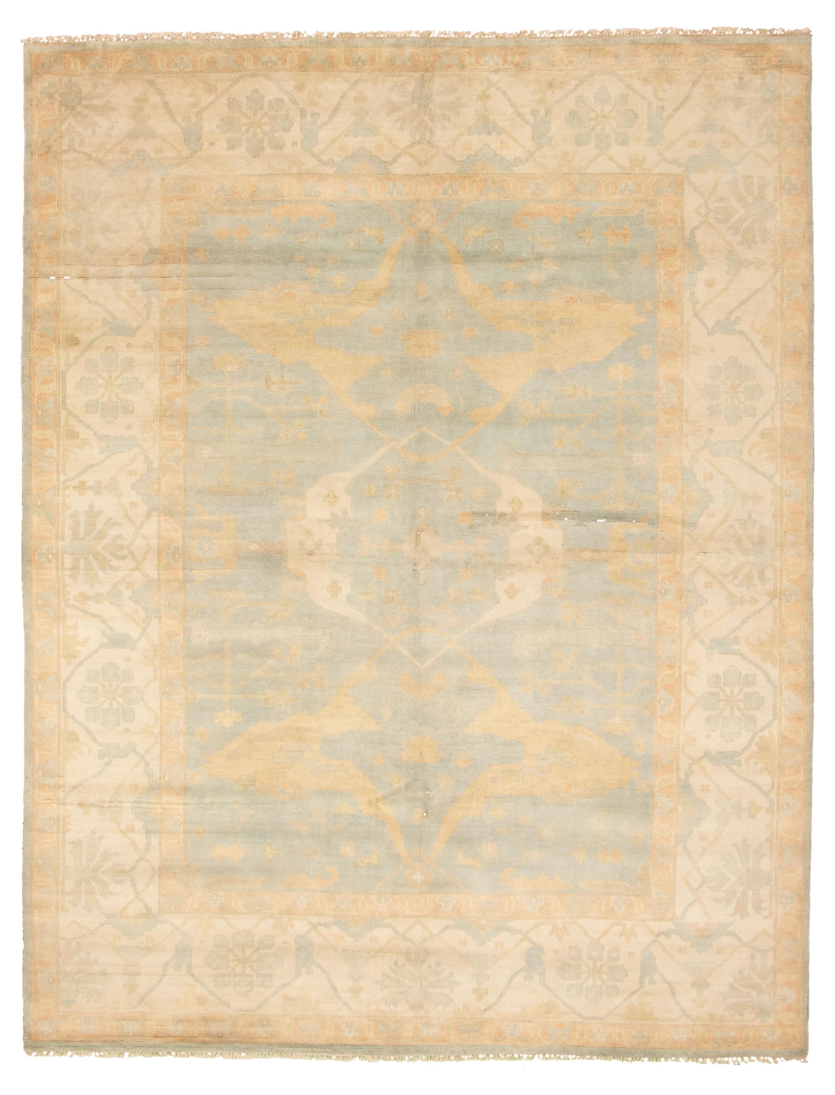 "Hand-knotted Royal Ushak Light Blue  Wool Rug 9'2"" x 12'0"" Size: 9'2"" x 12'0"""