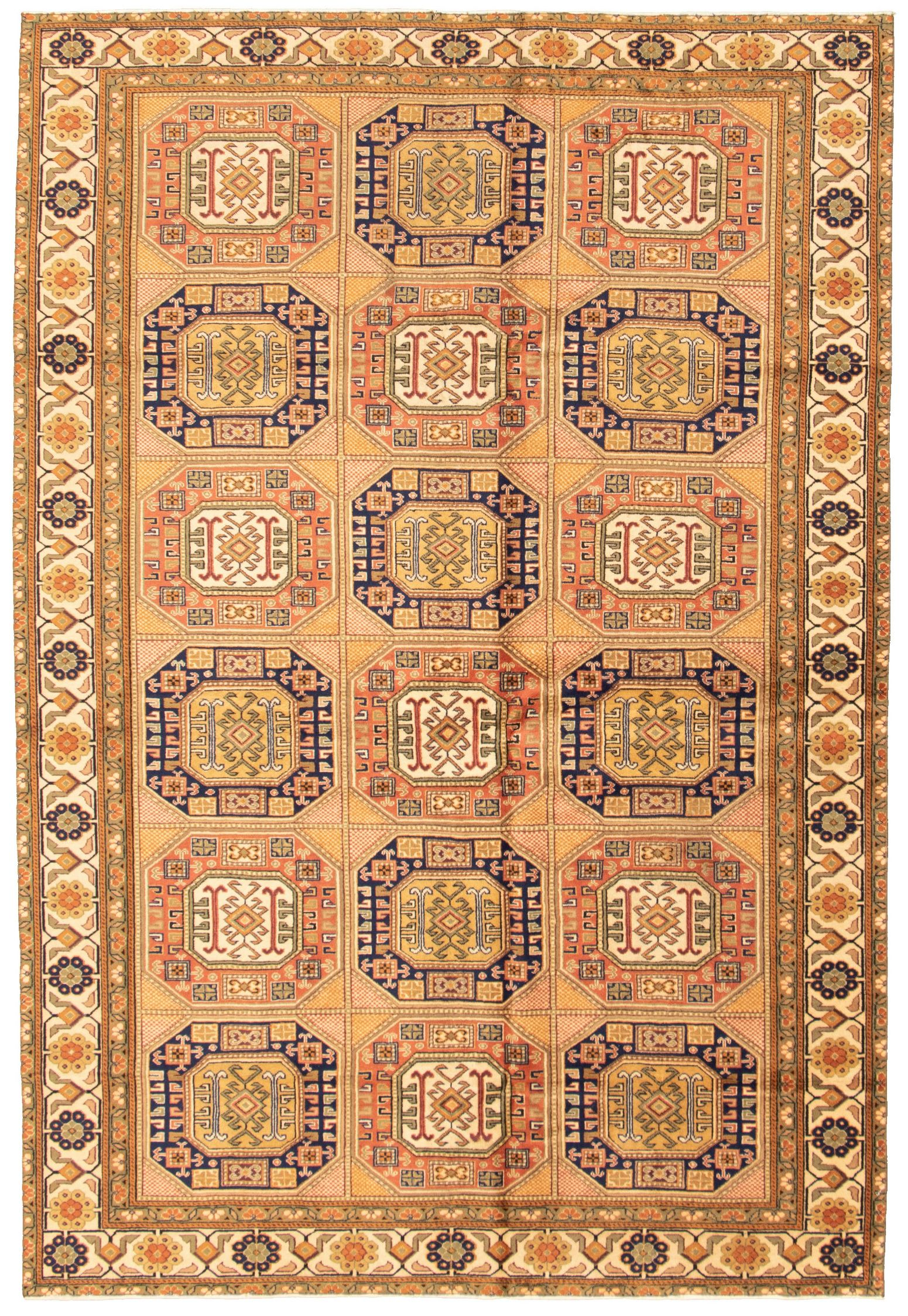 """Hand-knotted Keisari Vintage Tan Wool Rug 6'7"""" x 9'7"""" Size: 6'7"""" x 9'7"""""""