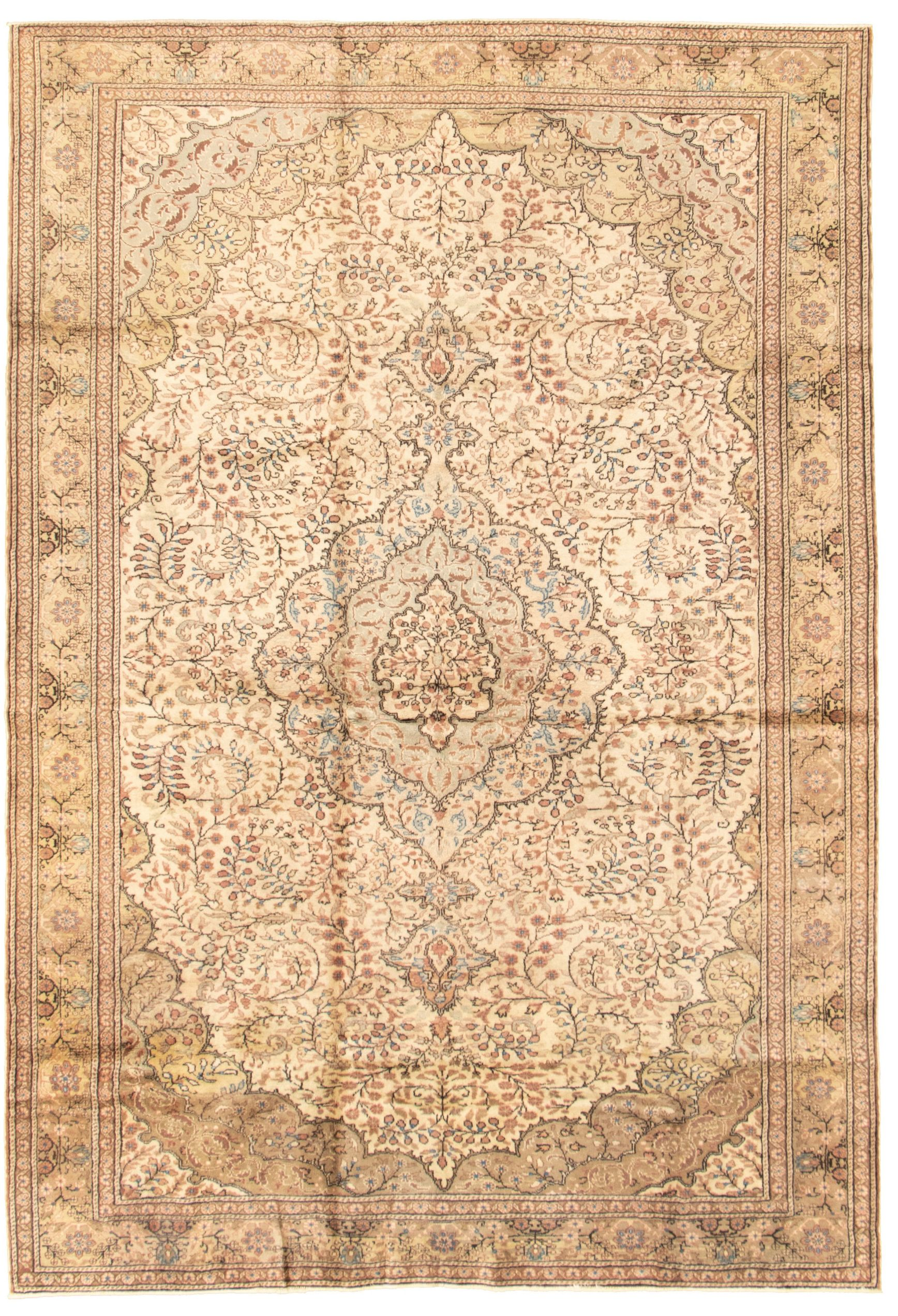 """Hand-knotted Keisari Vintage Cream Wool Rug 6'7"""" x 9'8""""  Size: 6'7"""" x 9'8"""""""