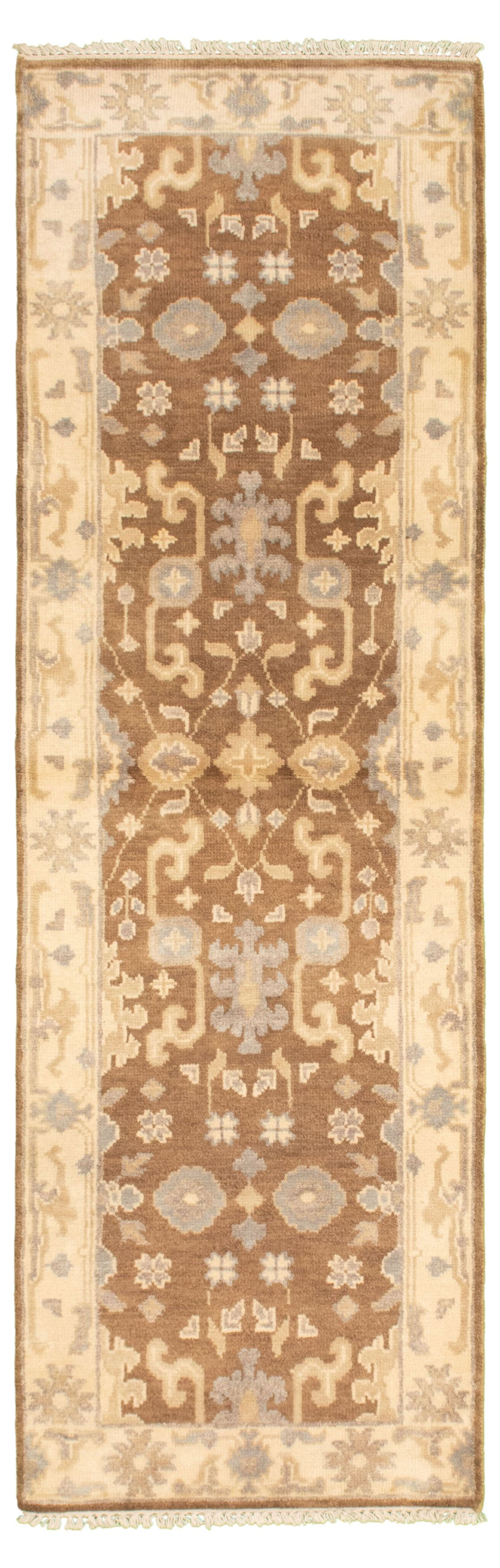 """Hand-knotted Royal Ushak Brown Wool Rug 2'7"""" x 8'1"""" Size: 2'7"""" x 8'1"""""""