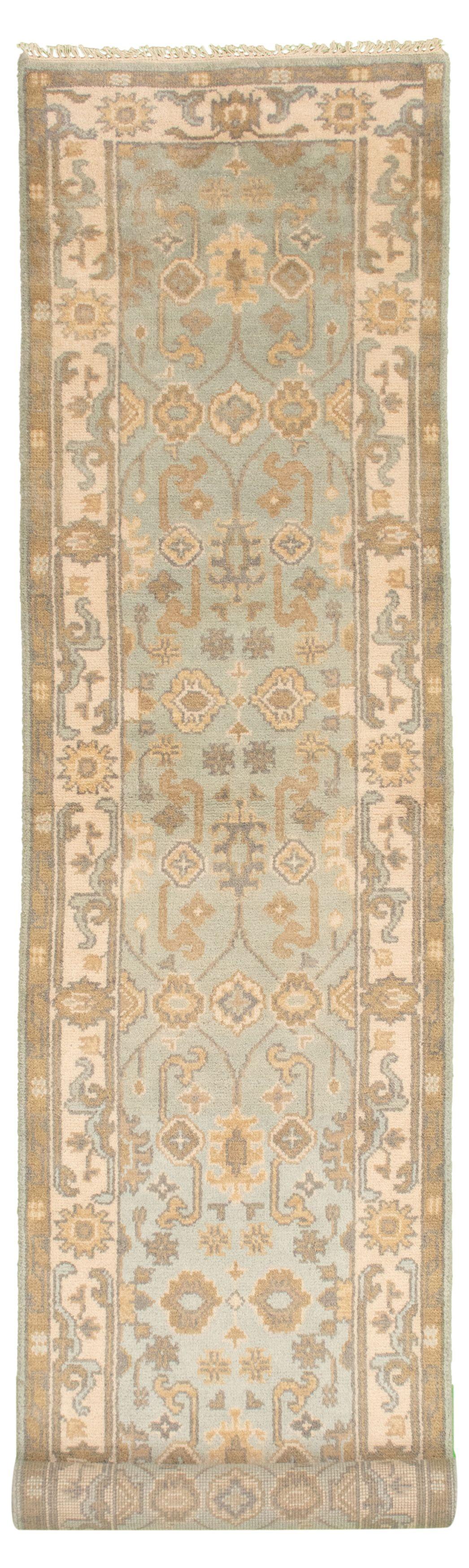 "Hand-knotted Royal Ushak Light Blue  Wool Rug 2'7"" x 11'10""  Size: 2'7"" x 11'10"""