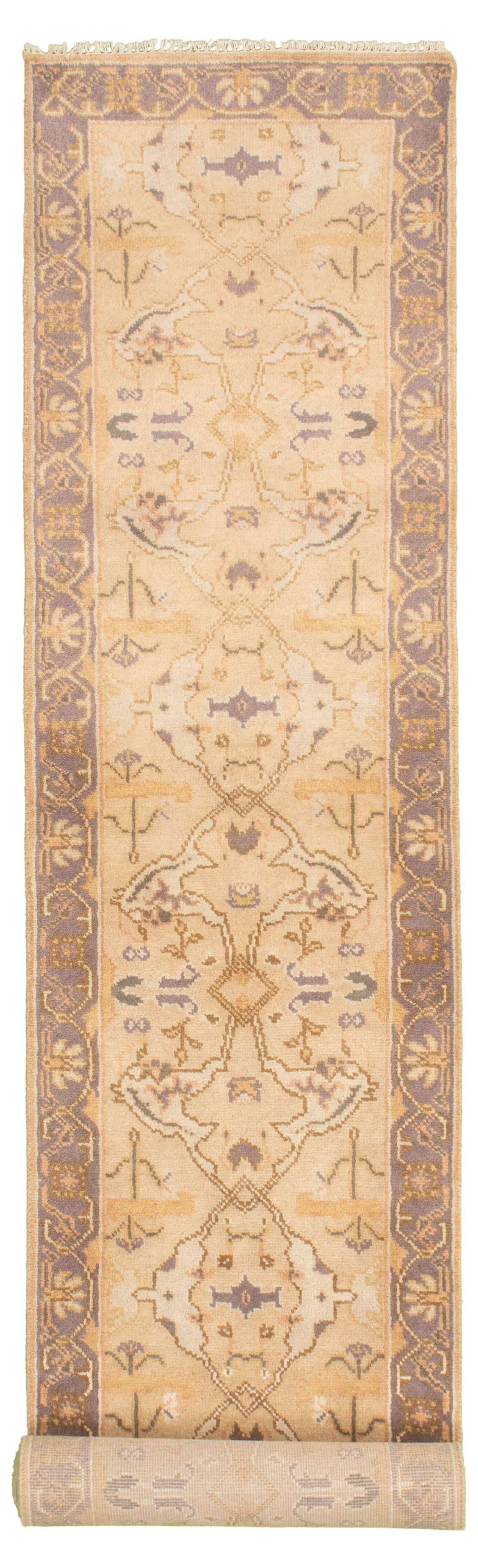 """Hand-knotted Royal Ushak Beige Wool Rug 2'7"""" x 13'10"""" Size: 2'7"""" x 13'10"""""""