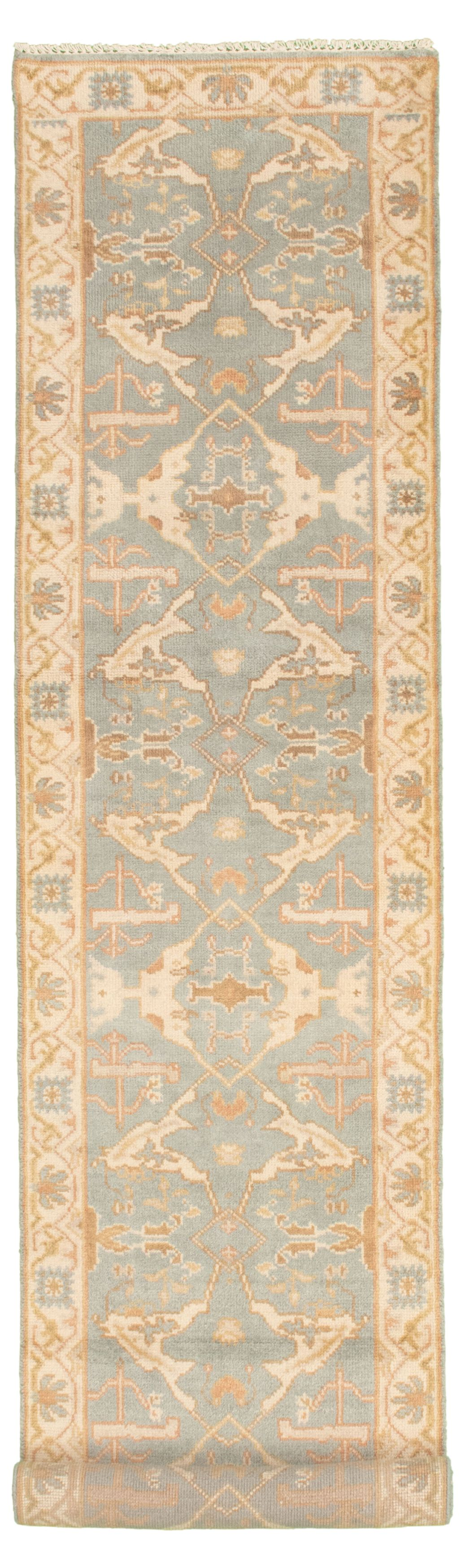 "Hand-knotted Royal Ushak Light Denim Blue Wool Rug 2'7"" x 11'10"" Size: 2'7"" x 11'10"""