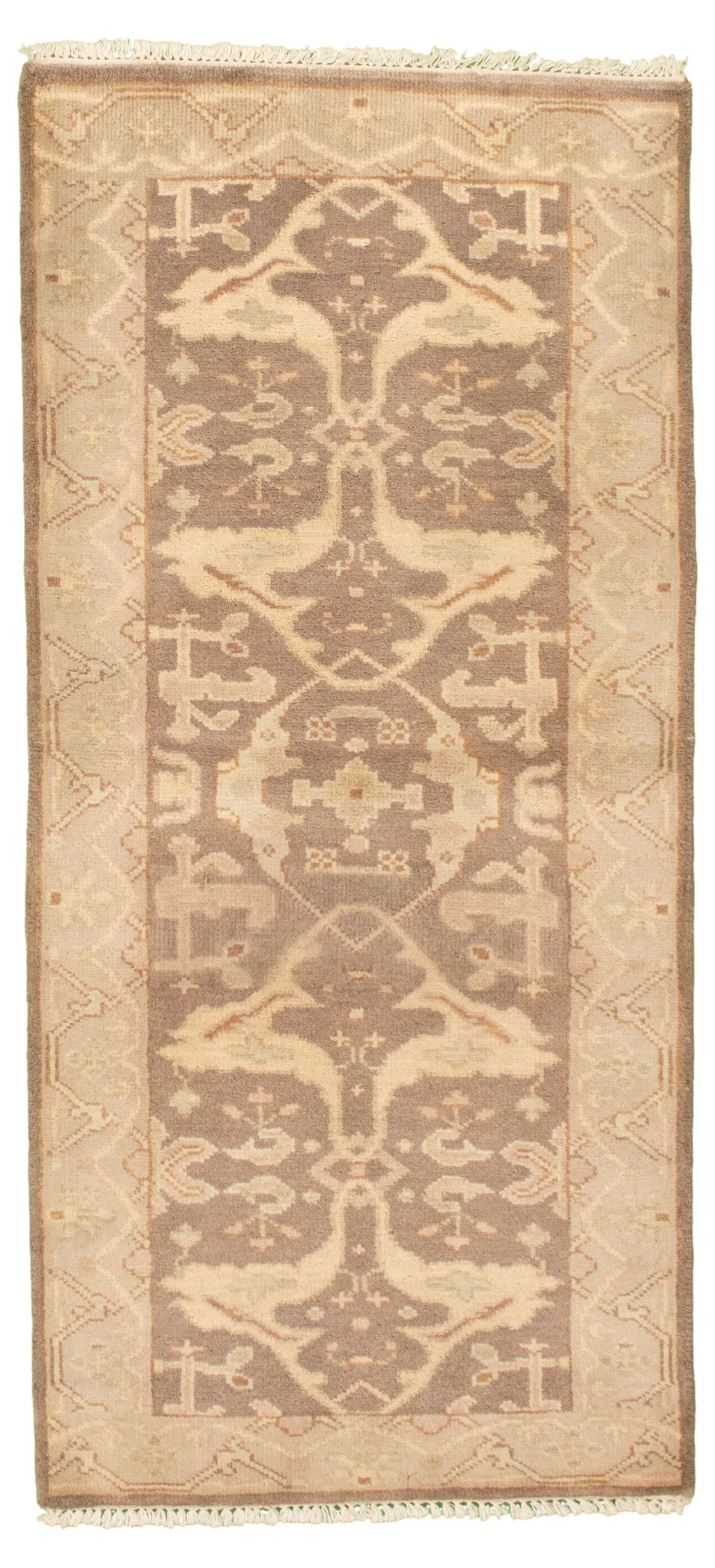 """Hand-knotted Royal Ushak Dark Brown Wool Rug 2'9"""" x 5'11"""" Size: 2'9"""" x 5'11"""""""