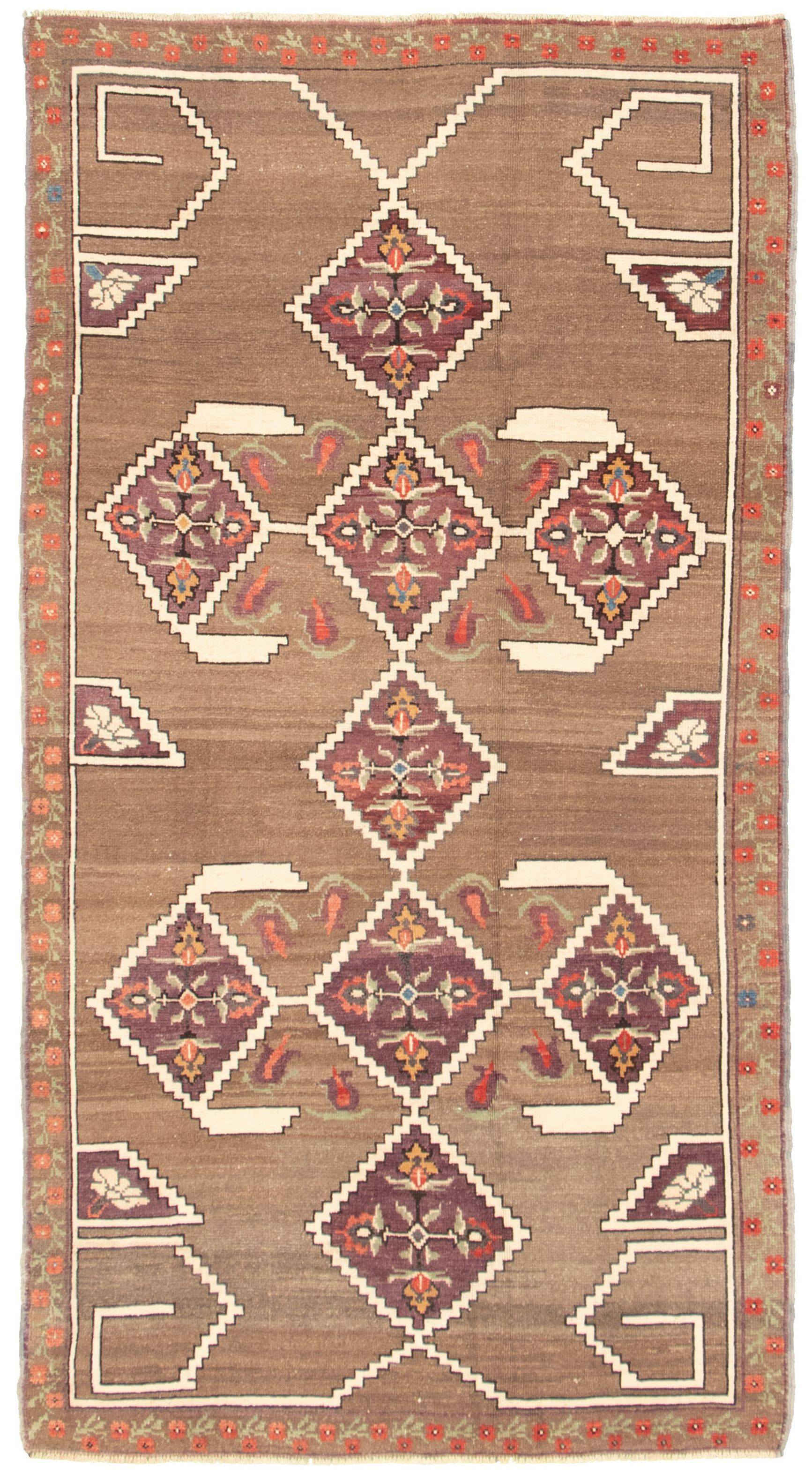 """Hand-knotted Melis Vintage Brown Wool Rug 4'6"""" x 8'0"""" Size: 4'6"""" x 8'0"""""""