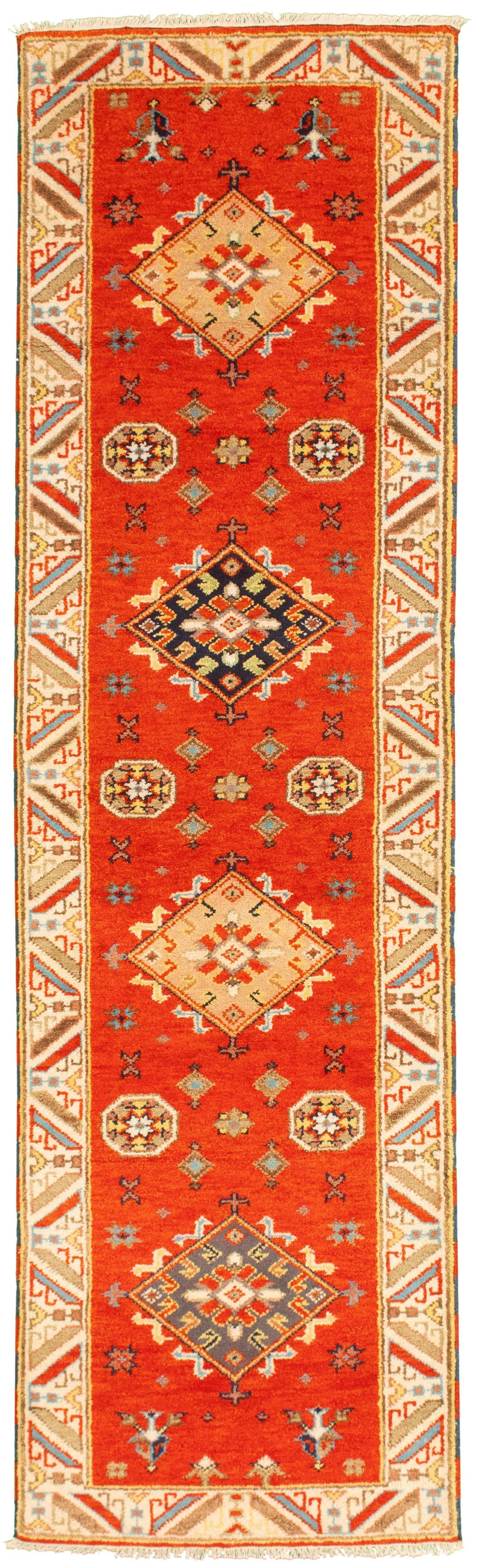 "Hand-knotted Royal Kazak Burnt Orange Wool Rug 2'8"" x 9'10"" Size: 2'8"" x 9'10"""
