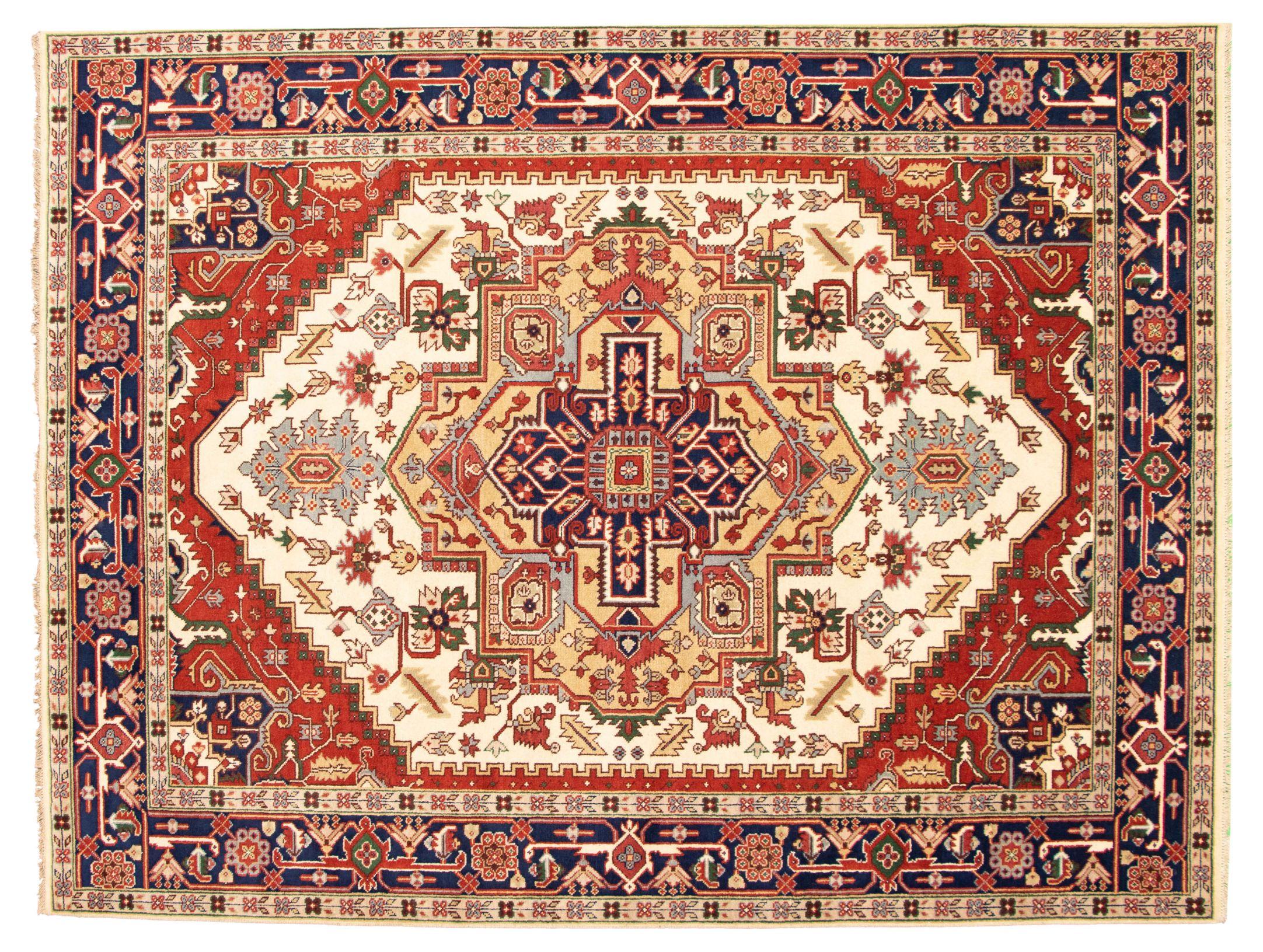"Hand-knotted Serapi Heritage I Cream Wool Rug 9'0"" x 11'11"" Size: 9'0"" x 11'11"""