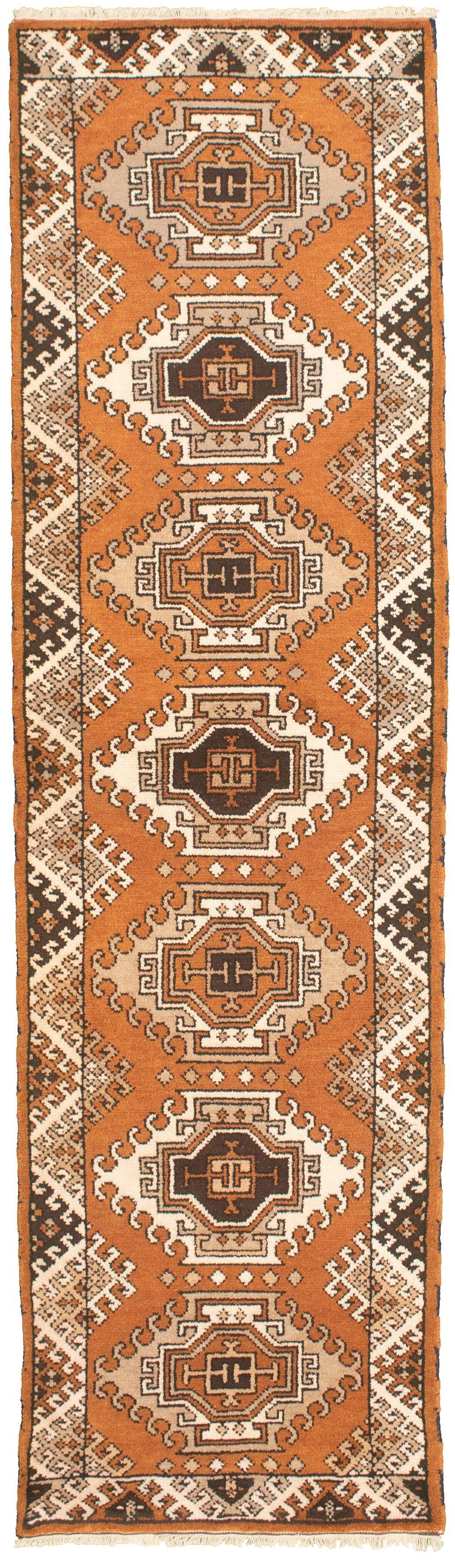 "Hand-knotted Royal Kazak Light Brown Wool Rug 2'8"" x 9'9""  Size: 2'8"" x 9'9"""