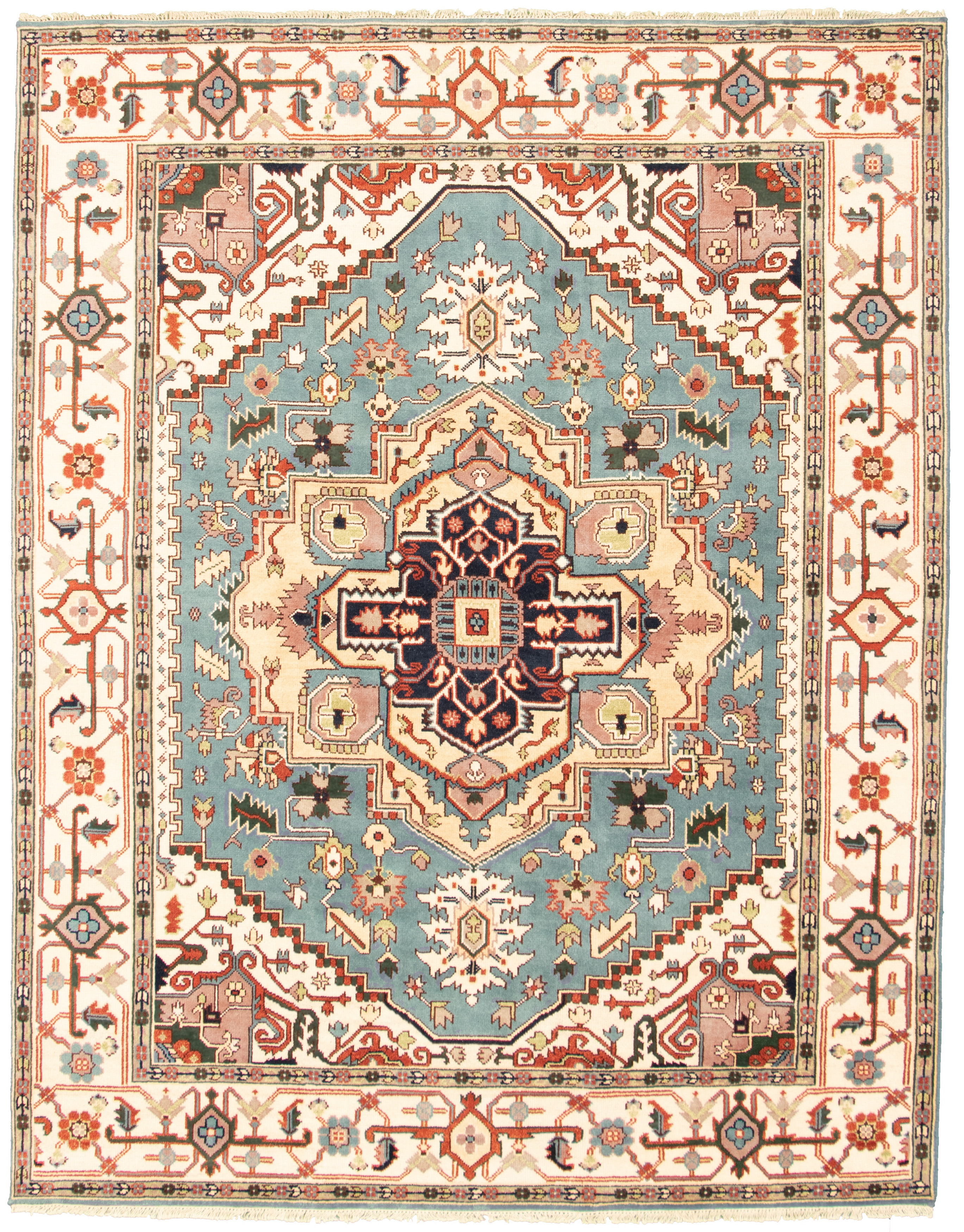 "Hand-knotted Serapi Heritage I Sky Blue Wool Rug 7'10"" x 9'11"" Size: 7'10"" x 9'11"""