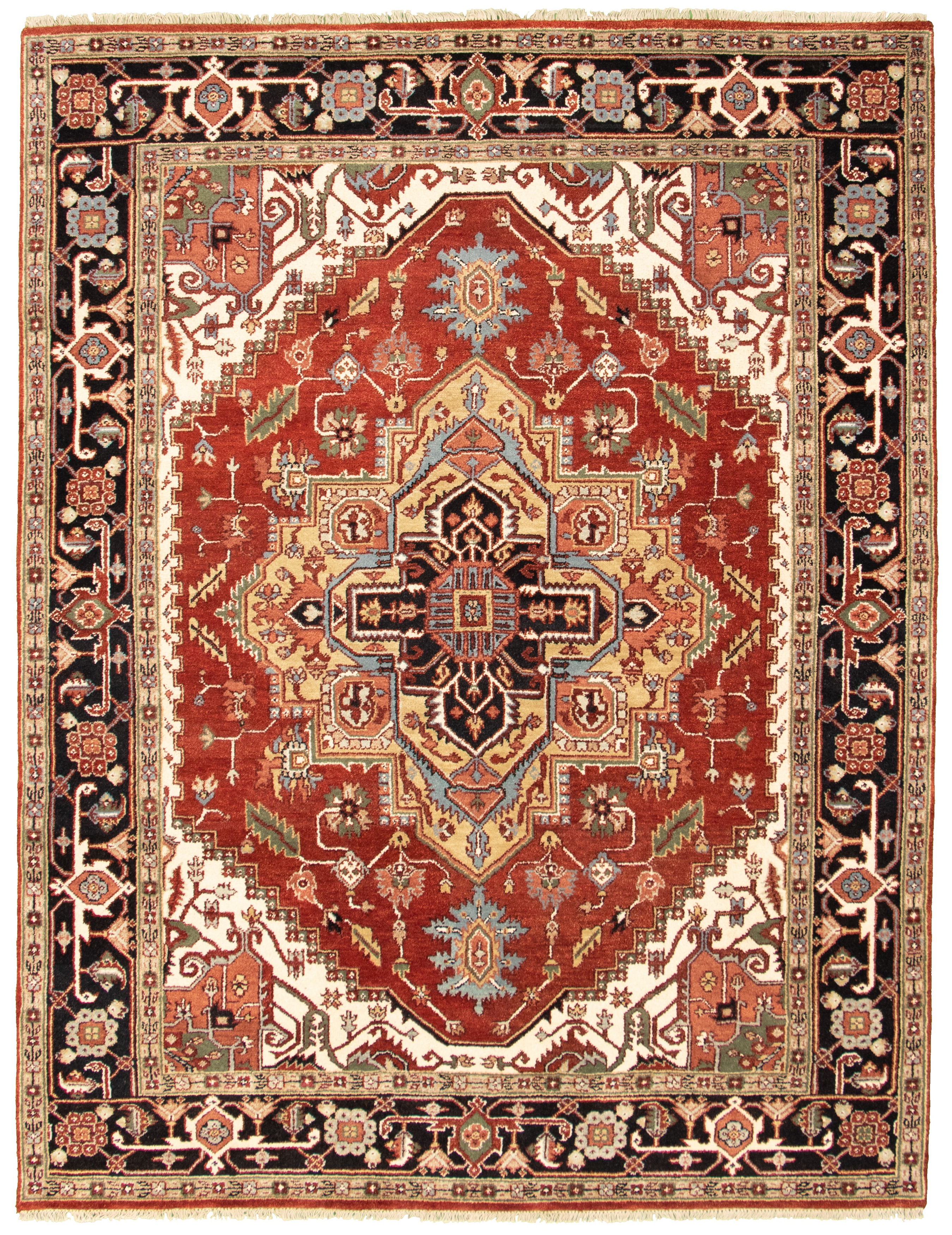 """Hand-knotted Serapi Heritage I Dark Copper Wool Rug 7'10"""" x 9'11"""" Size: 7'10"""" x 9'11"""""""