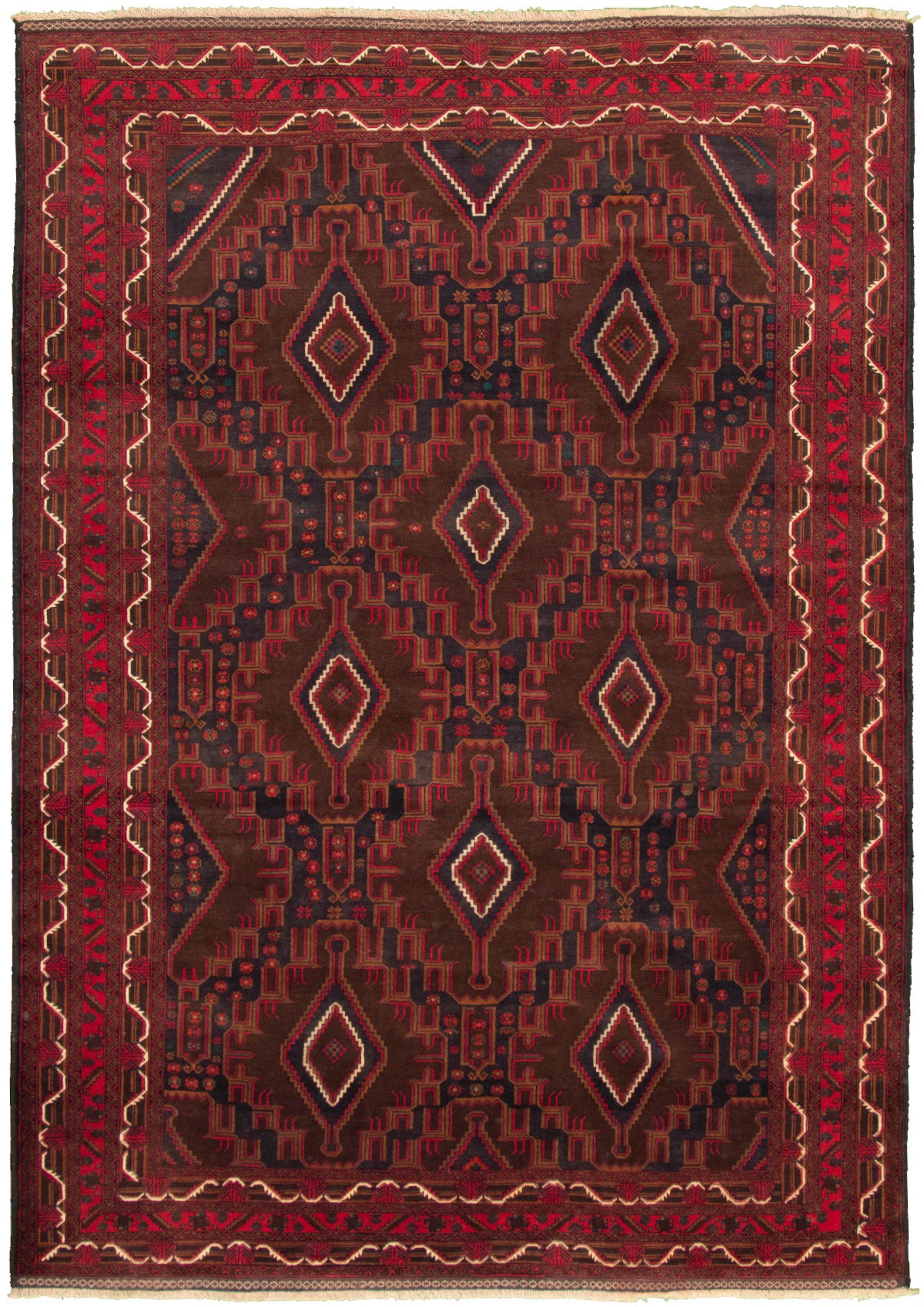"""Hand-knotted Teimani Dark Brown, Dark Navy Wool Rug 7'9"""" x 10'10"""" Size: 7'9"""" x 10'10"""""""