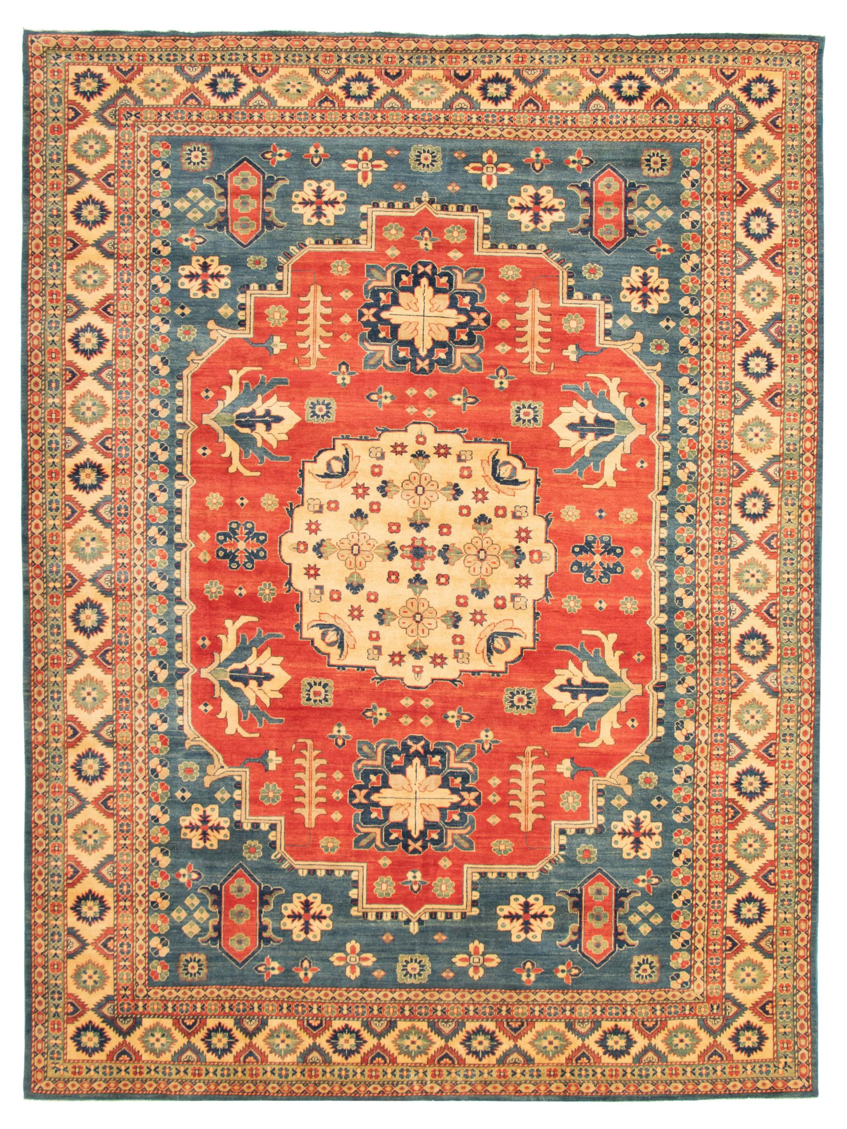 """Hand-knotted Finest Gazni Blue, Red  Rug 9'10"""" x 13'2"""" Size: 9'11"""" x 13'2"""""""