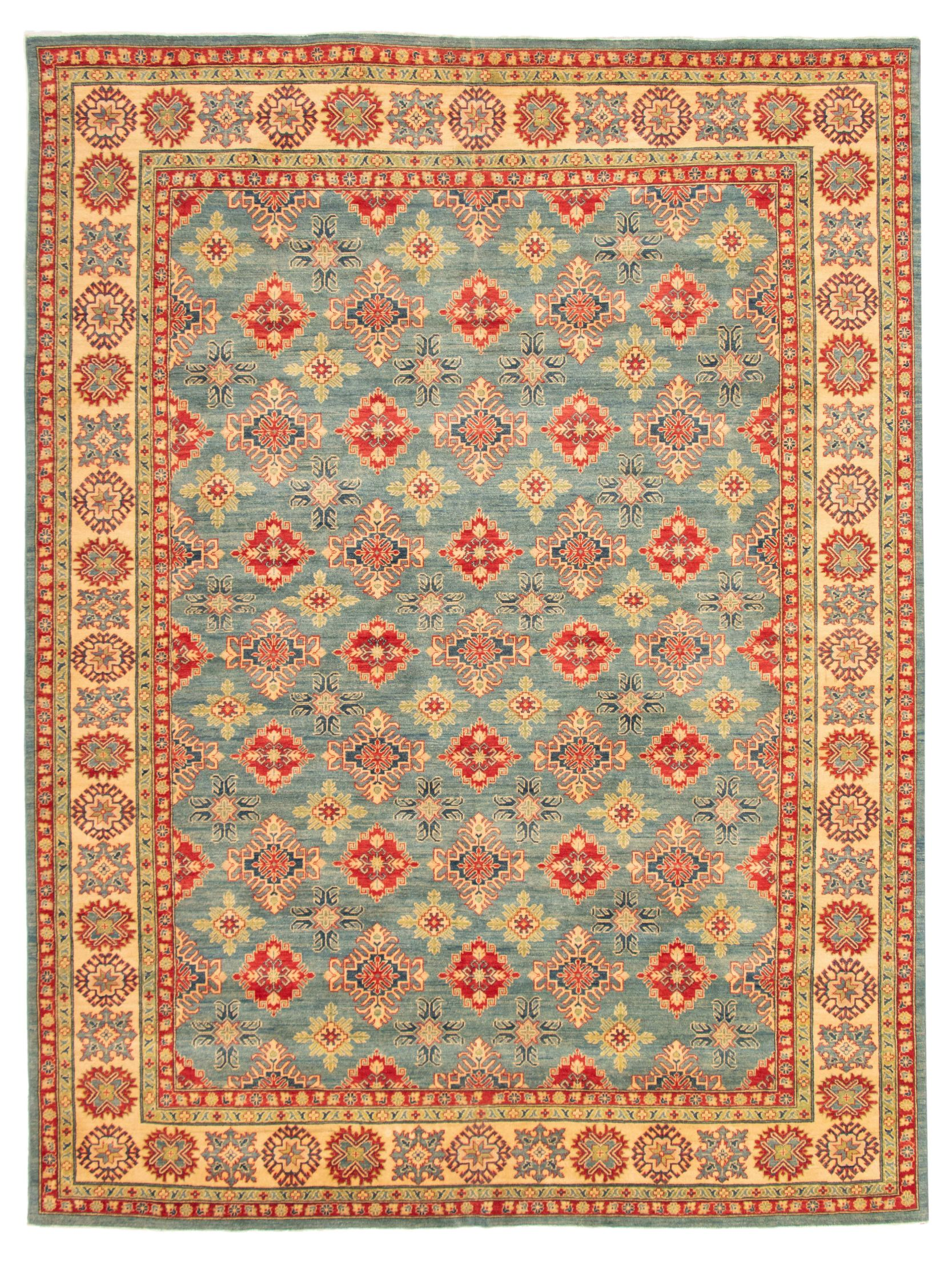"Hand-knotted Finest Gazni Sky Blue Wool Rug 9'8"" x 13'0"" Size: 9'8"" x 13'0"""