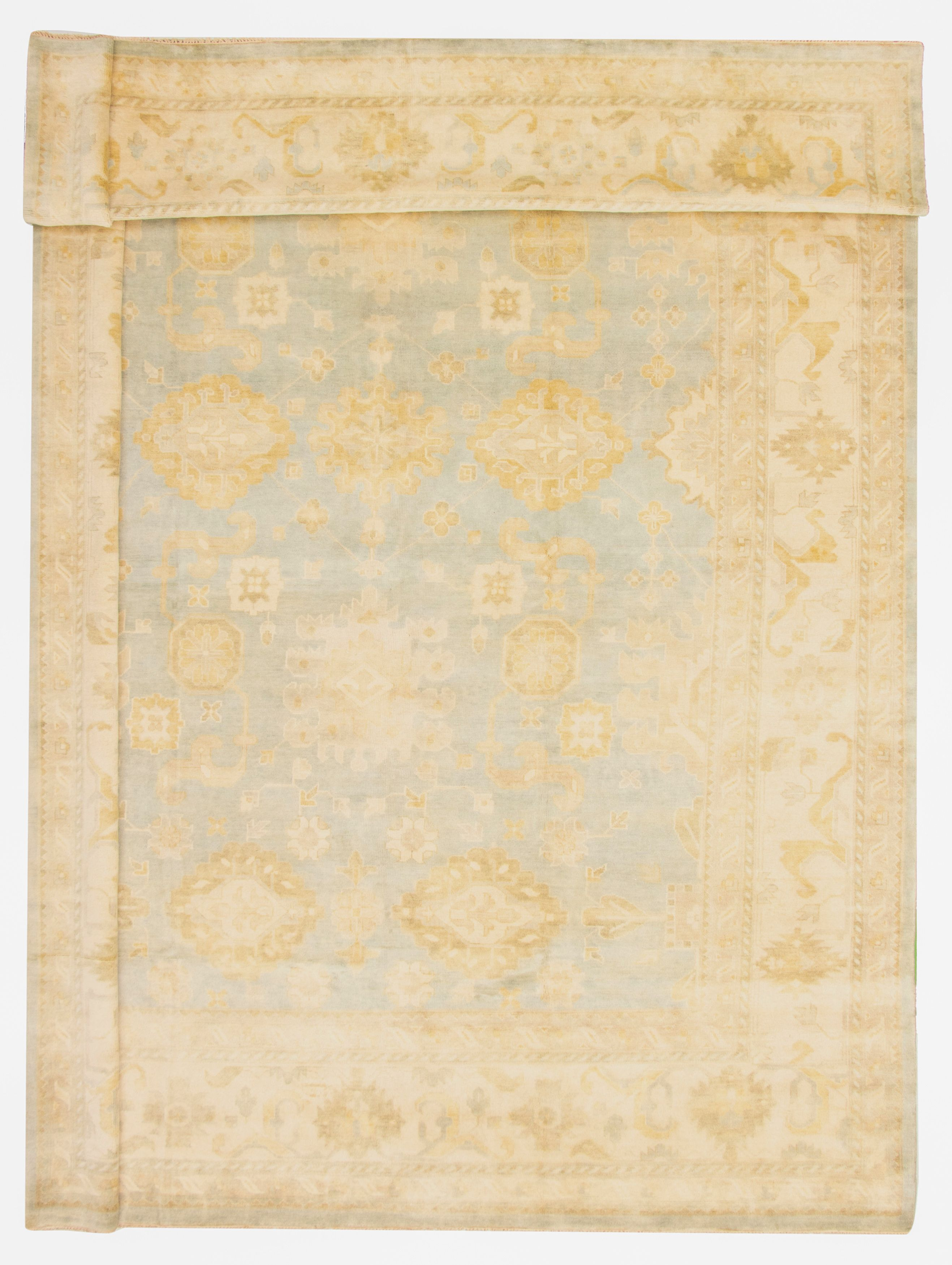 "Hand-knotted Royal Ushak Light Blue  Wool Rug 12'0"" x 17'9"" Size: 12'0"" x 17'9"""