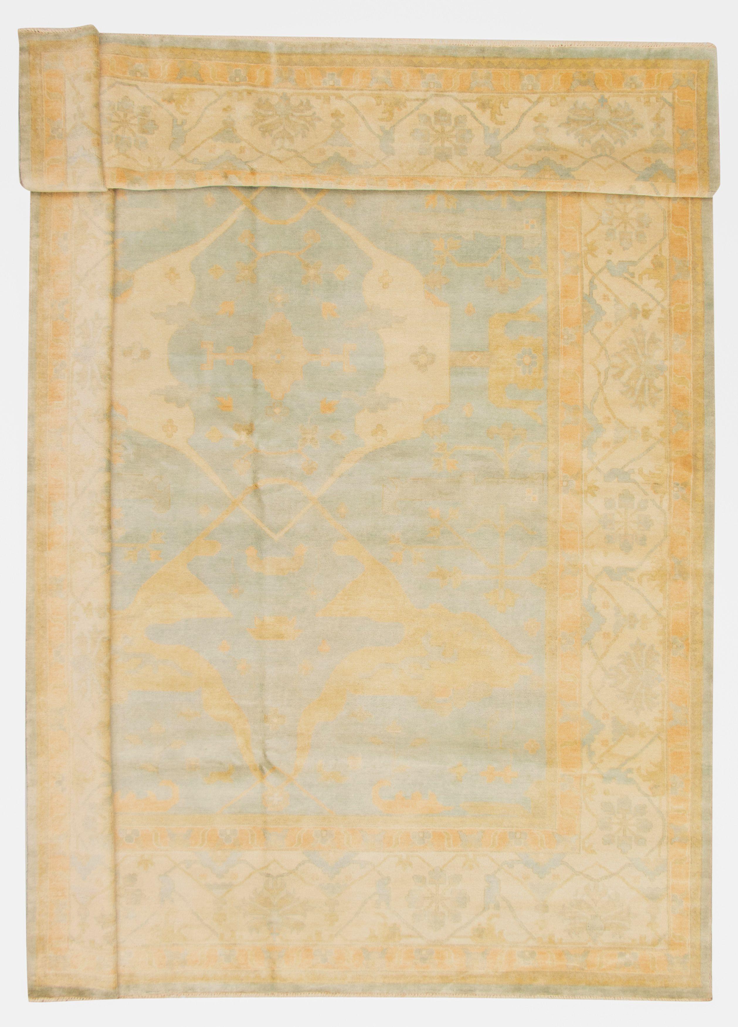 "Hand-knotted Royal Ushak Light Blue  Wool Rug 12'3"" x 17'9"" Size: 12'3"" x 17'9"""