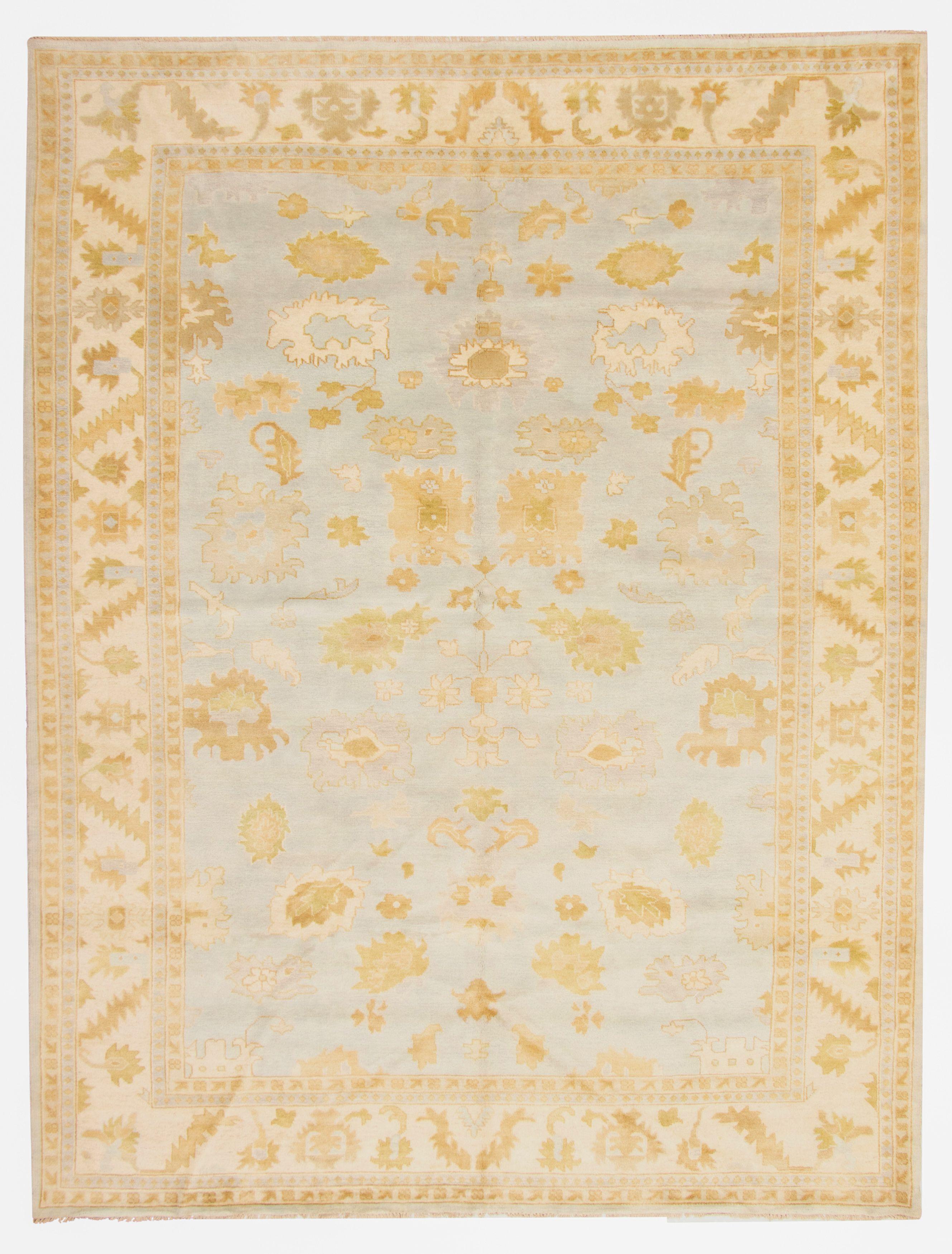 "Hand-knotted Royal Ushak Light Blue  Wool Rug 10'8"" x 14'0"" Size: 10'8"" x 14'0"""