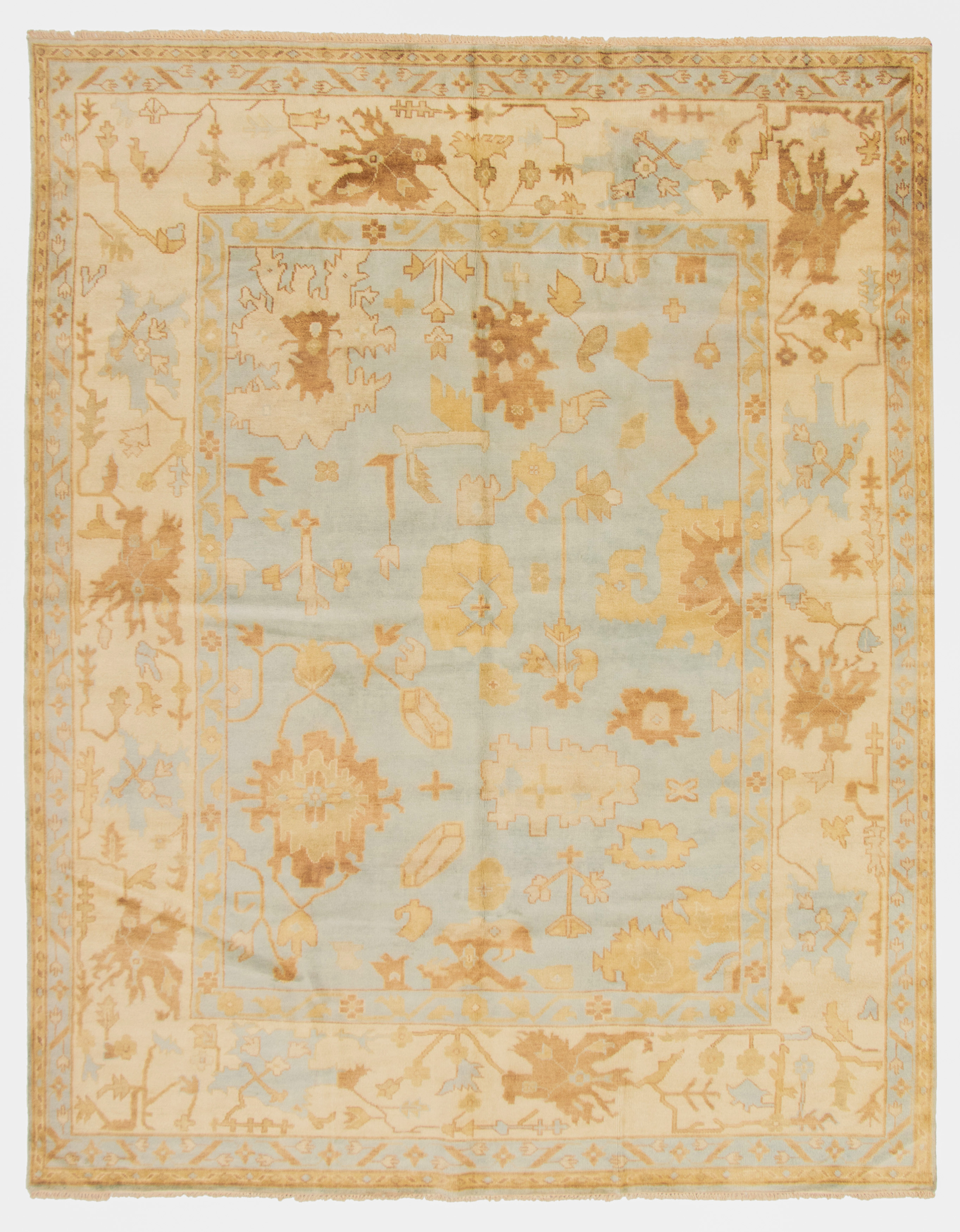 "Hand-knotted Royal Ushak Light Blue  Wool Rug 9'5"" x 12'0"" Size: 9'5"" x 12'0"""