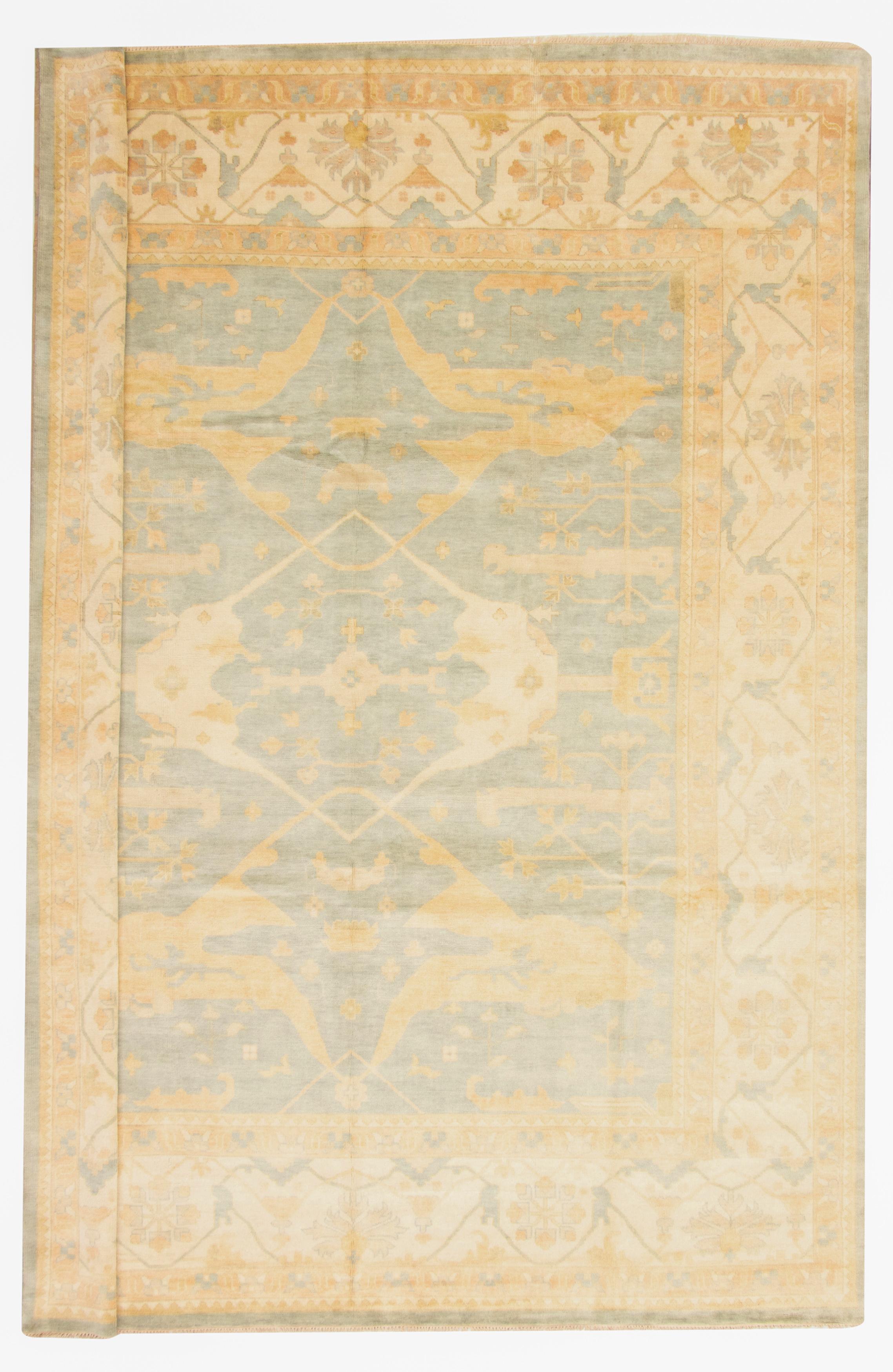 "Hand-knotted Royal Ushak Light Blue  Wool Rug 12'3"" x 15'1"" Size: 12'3"" x 15'1"""