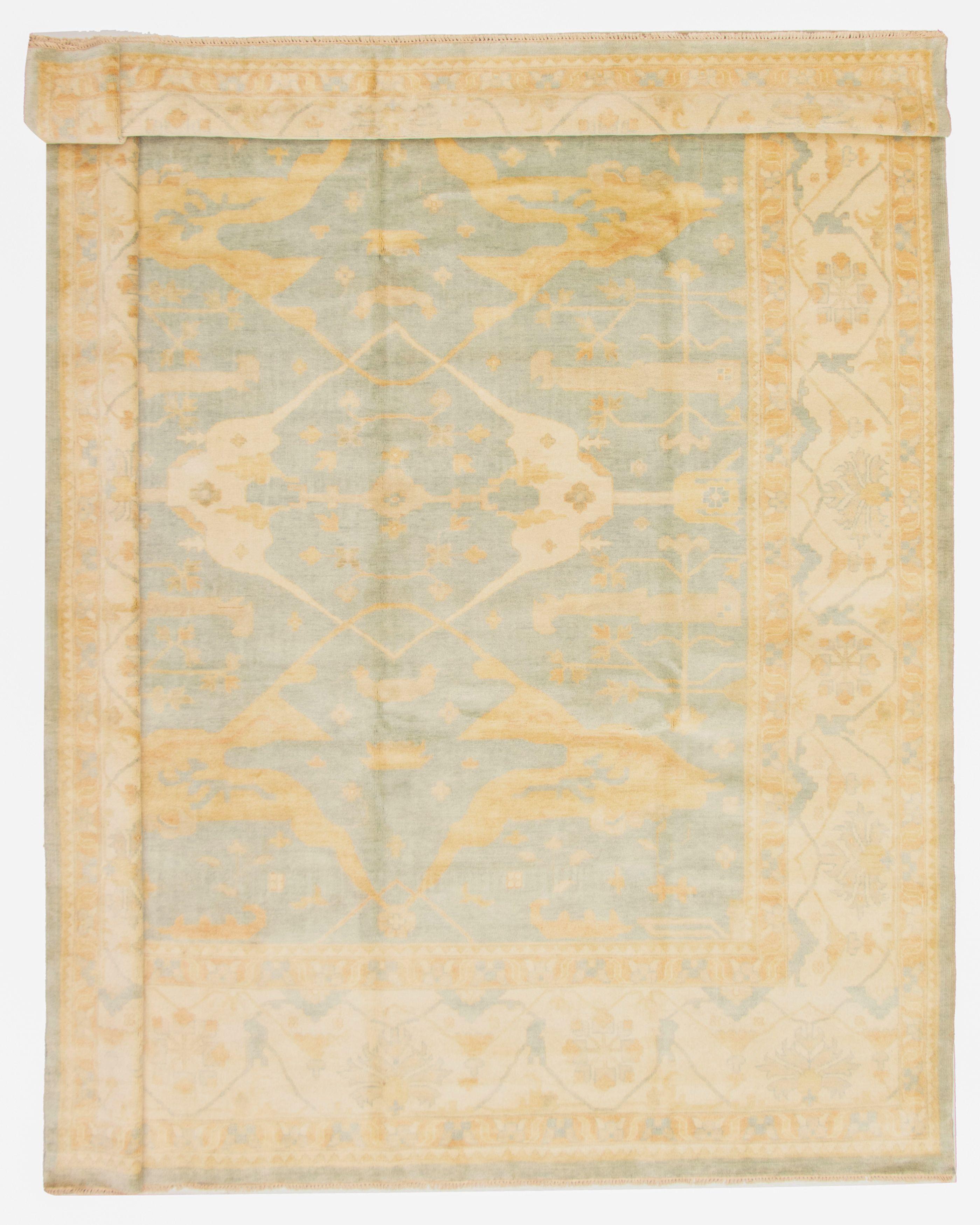 "Hand-knotted Royal Ushak Light Blue  Wool Rug 12'3"" x 15'3"" Size: 12'3"" x 15'3"""