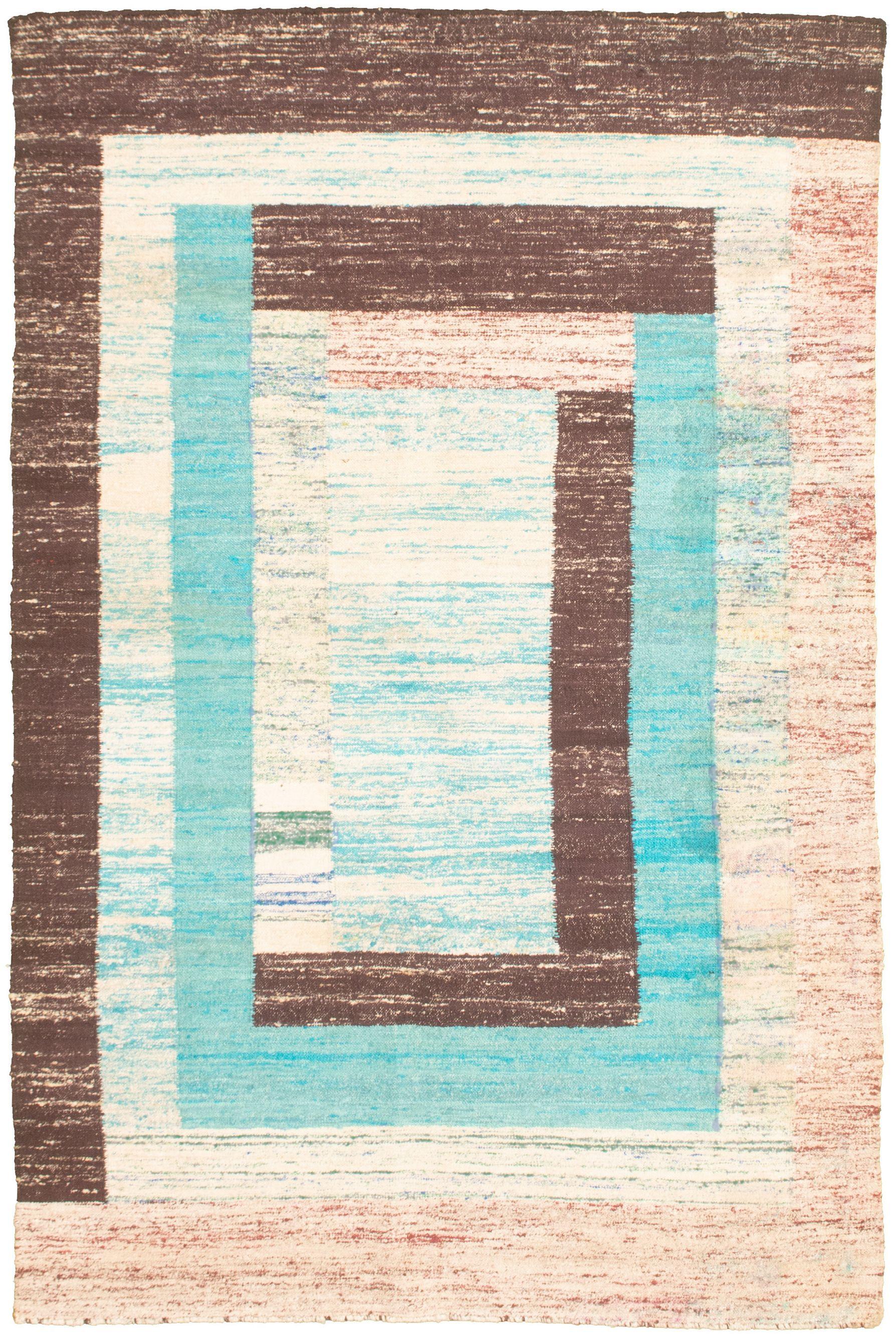 """Hand woven Sari Silk Cyan, Dark Brown  Kilim 5'2"""" x 8'0"""" Size: 5'2"""" x 8'0"""""""