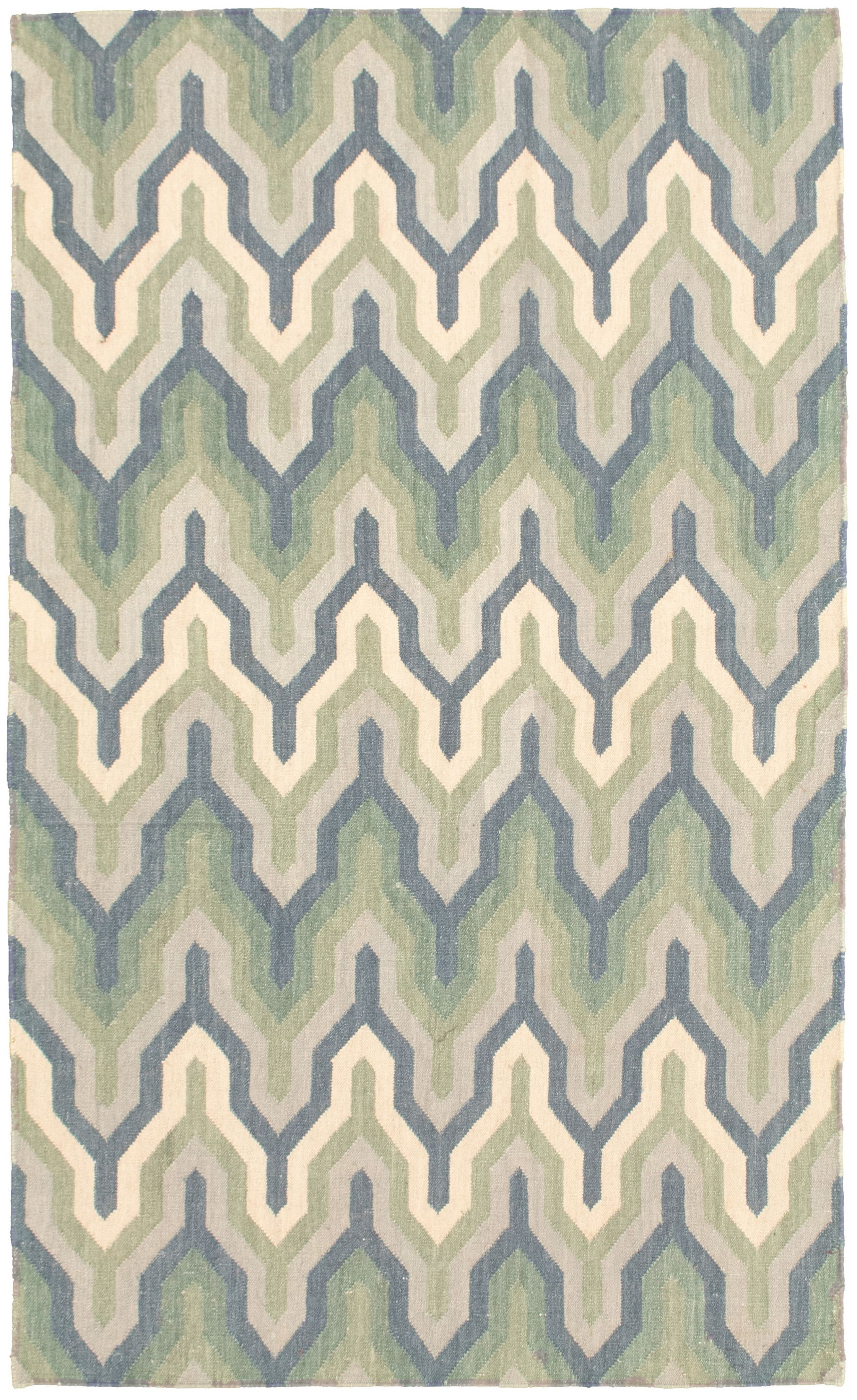 """Hand woven Pure & Organic Navy Blue, Olive Wool Kilim 4'11"""" x 8'3"""" Size: 4'11"""" x 8'3"""""""