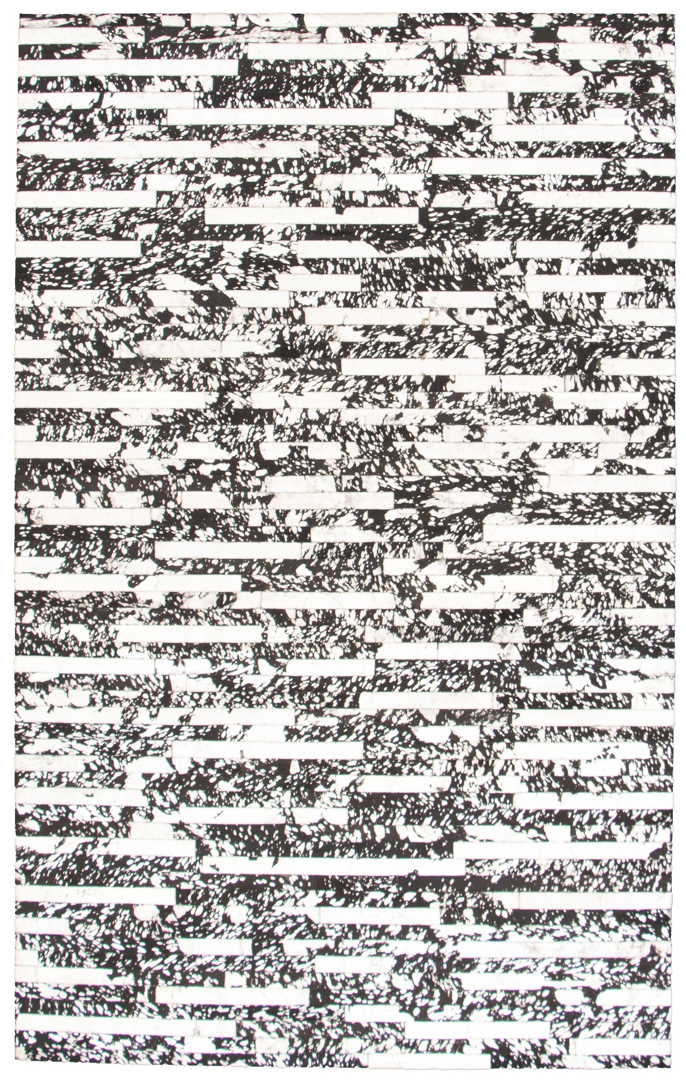 "Handmade Cowhide Patchwork Black, Light Grey Leather Rug 5'0"" x 8'0"" Size: 5'0"" x 8'0"""
