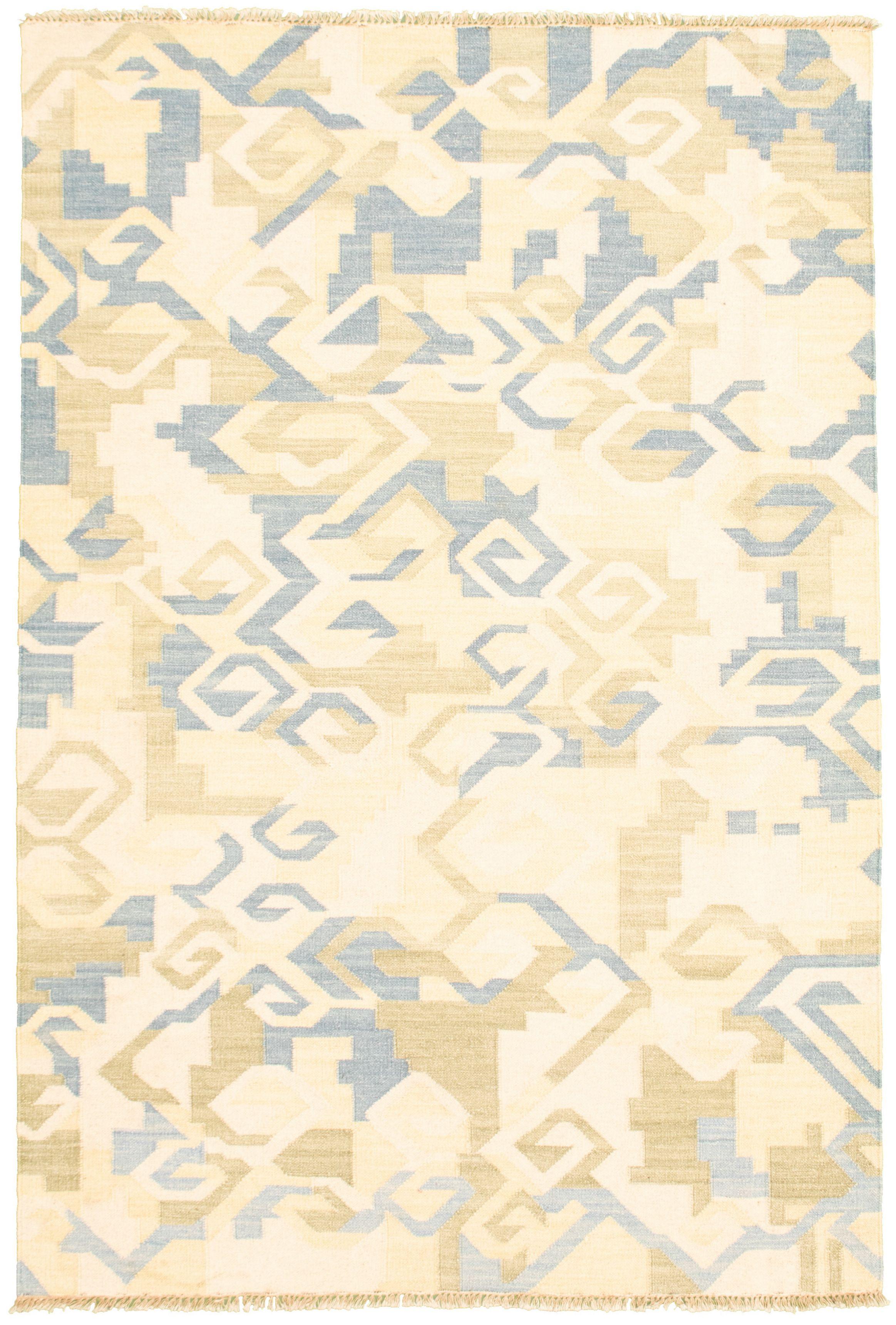 "Hand woven Pure & Organic Cream, Sky Blue Wool Kilim 5'2"" x 7'10"" Size: 5'2"" x 7'10"""
