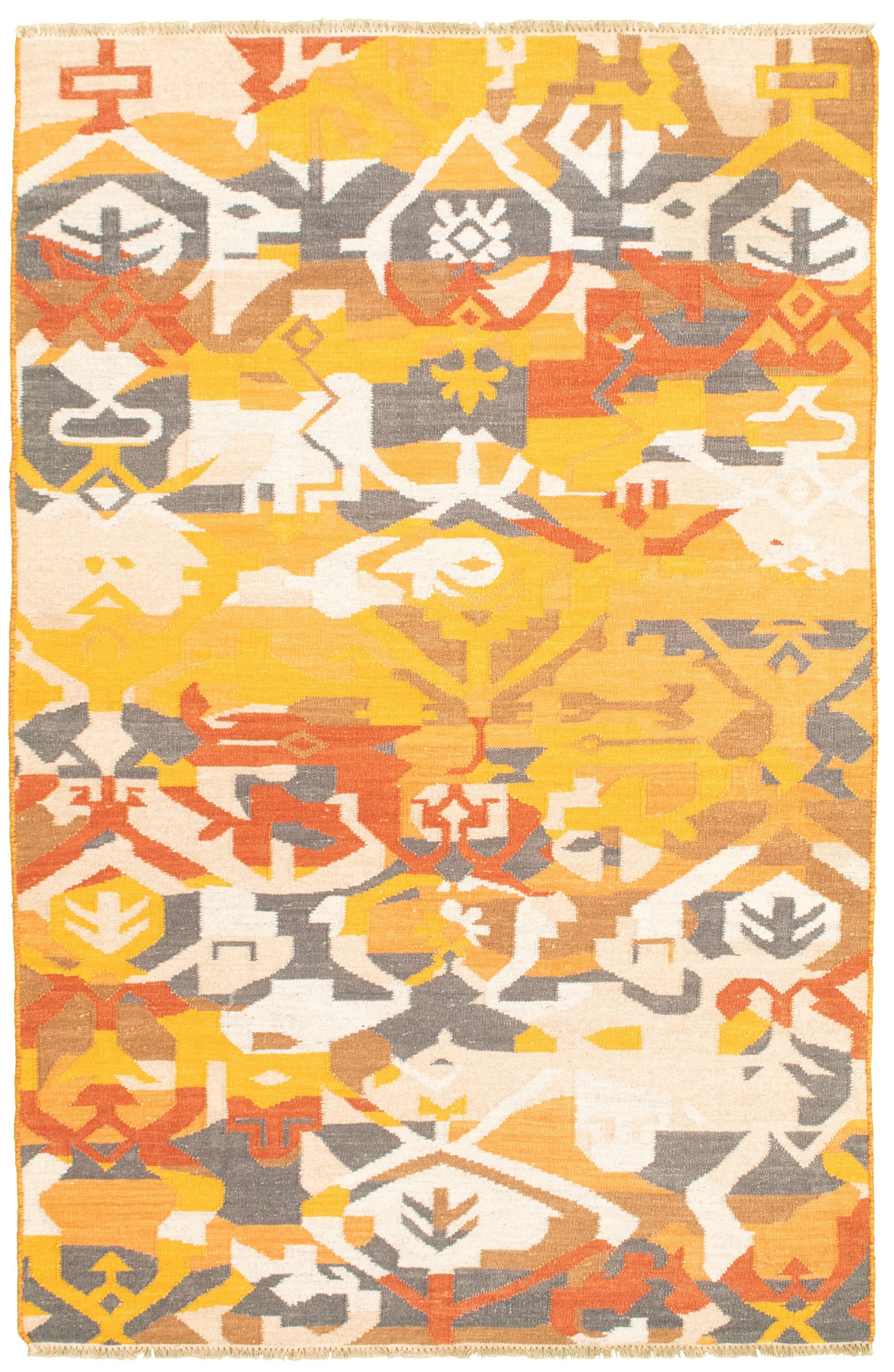 """Hand woven Bold and Colorful  Copper, Dark Gold Wool Kilim 5'1"""" x 7'11"""" Size: 5'1"""" x 7'11"""""""