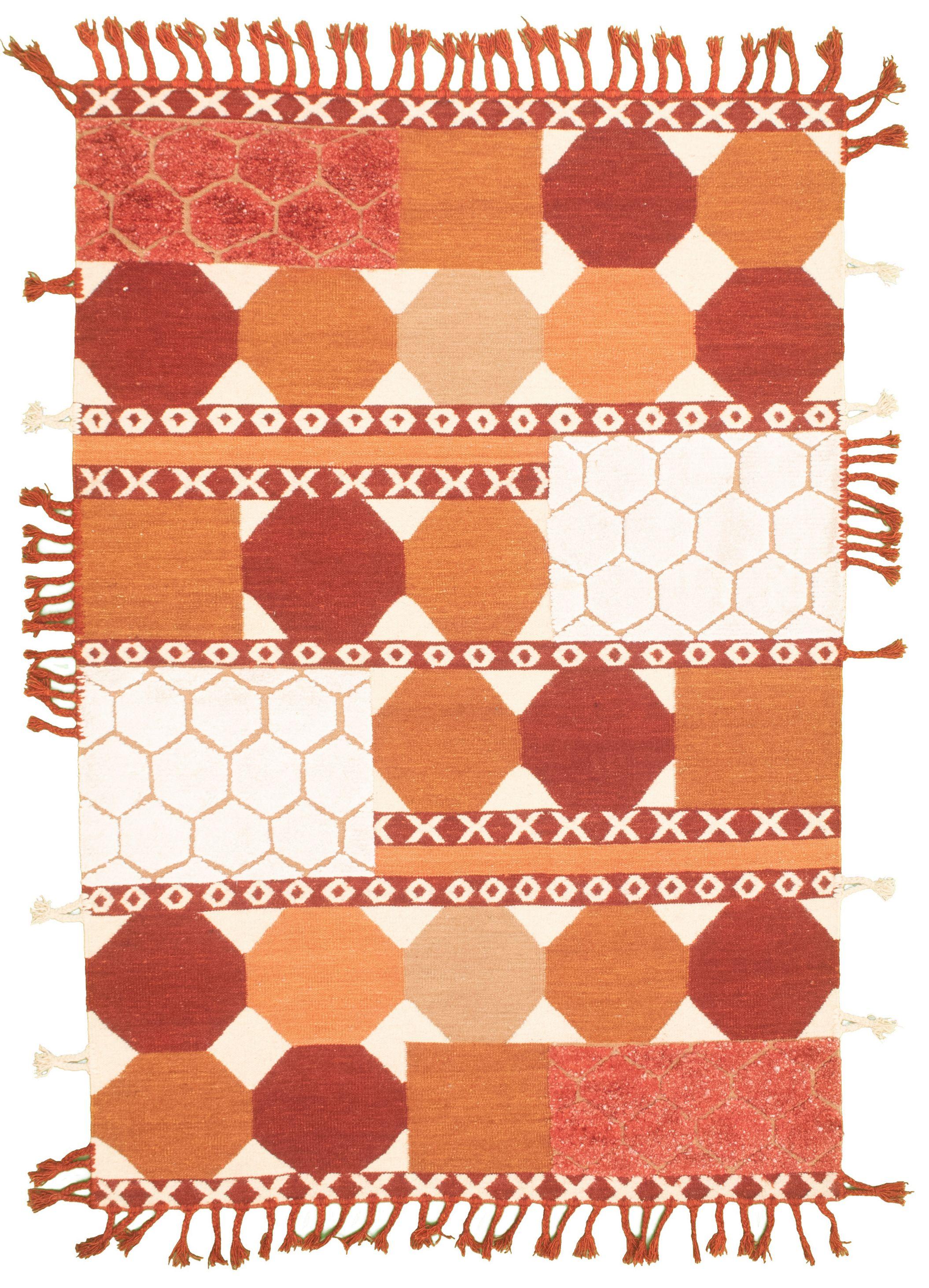 "Hand woven Cambridge Brown, Dark Red Wool/Silk Kilim 5'4"" x 7'11"" Size: 5'4"" x 7'11"""