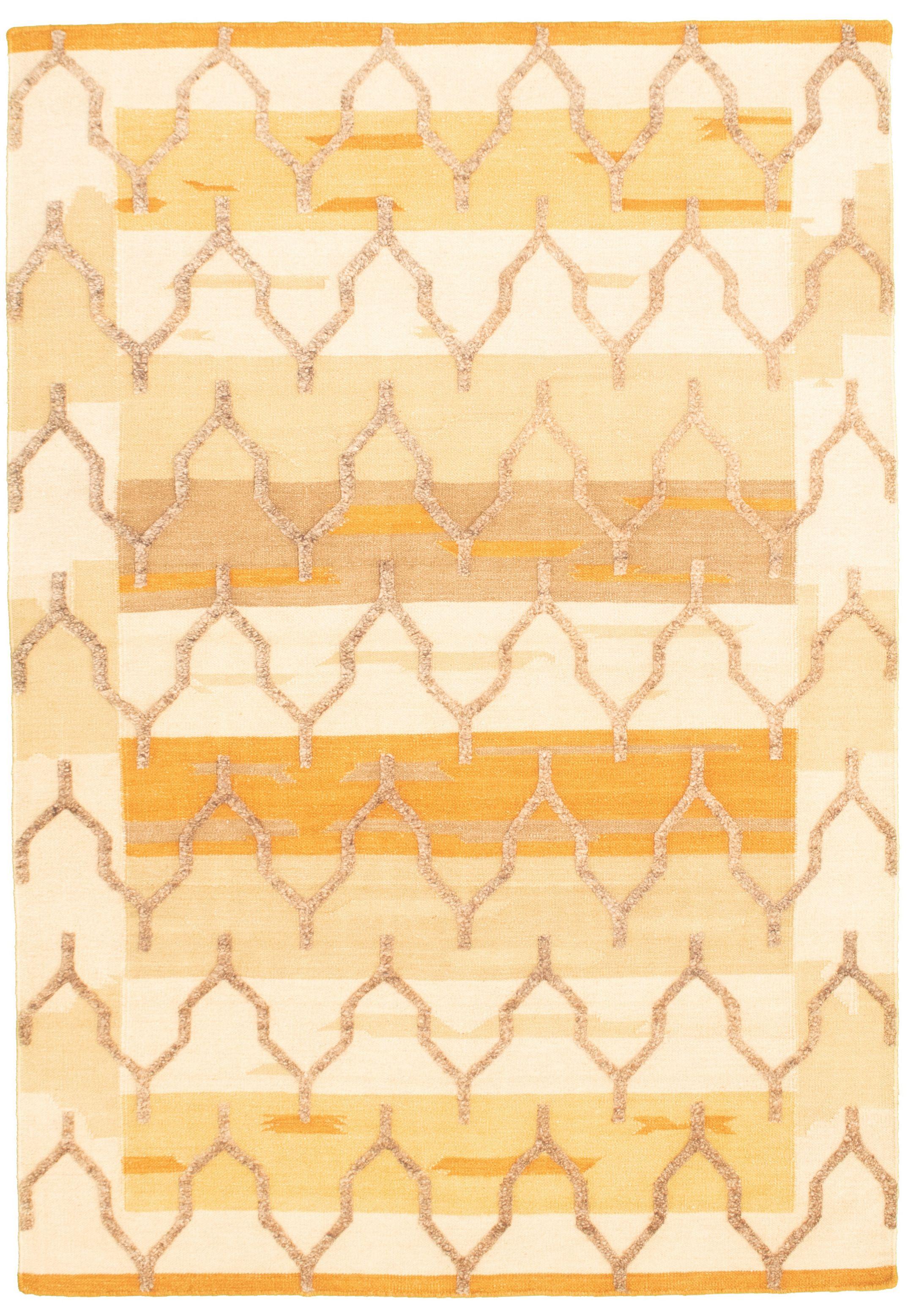 "Hand woven Cambridge Brown, Khaki Wool Kilim 5'4"" x 7'10"" Size: 5'4"" x 7'10"""