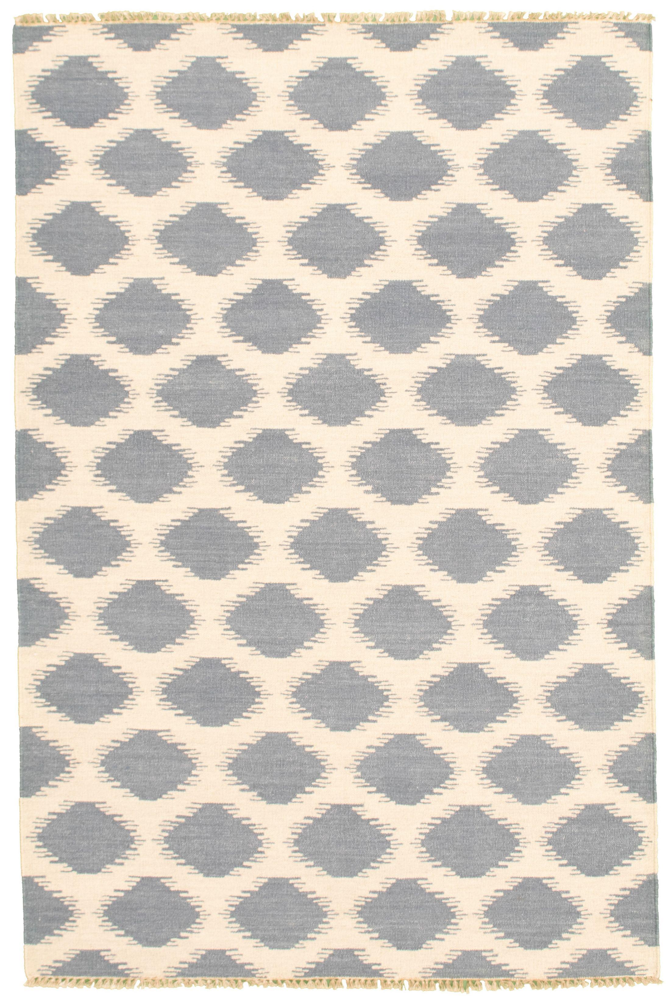 "Hand woven Pure & Organic Navy Blue Wool Kilim 5'2"" x 8'0"" Size: 5'2"" x 8'0"""