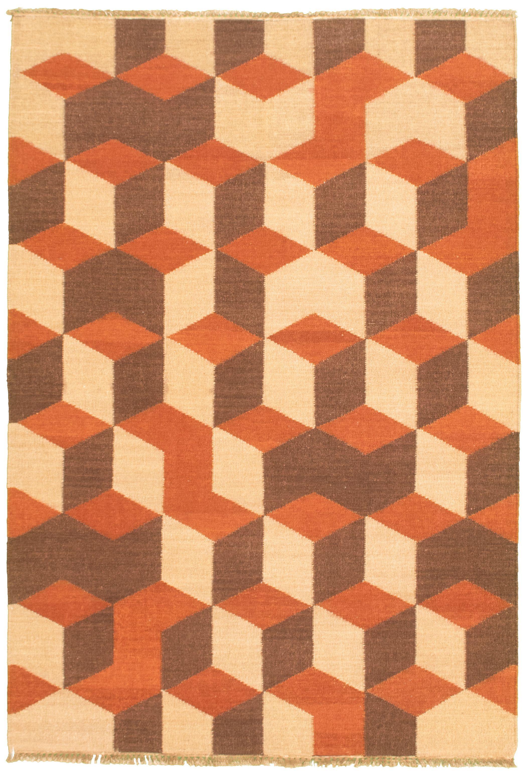 "Hand woven Pure & Organic Beige Wool Kilim 5'3"" x 8'0"" Size: 5'3"" x 8'0"""