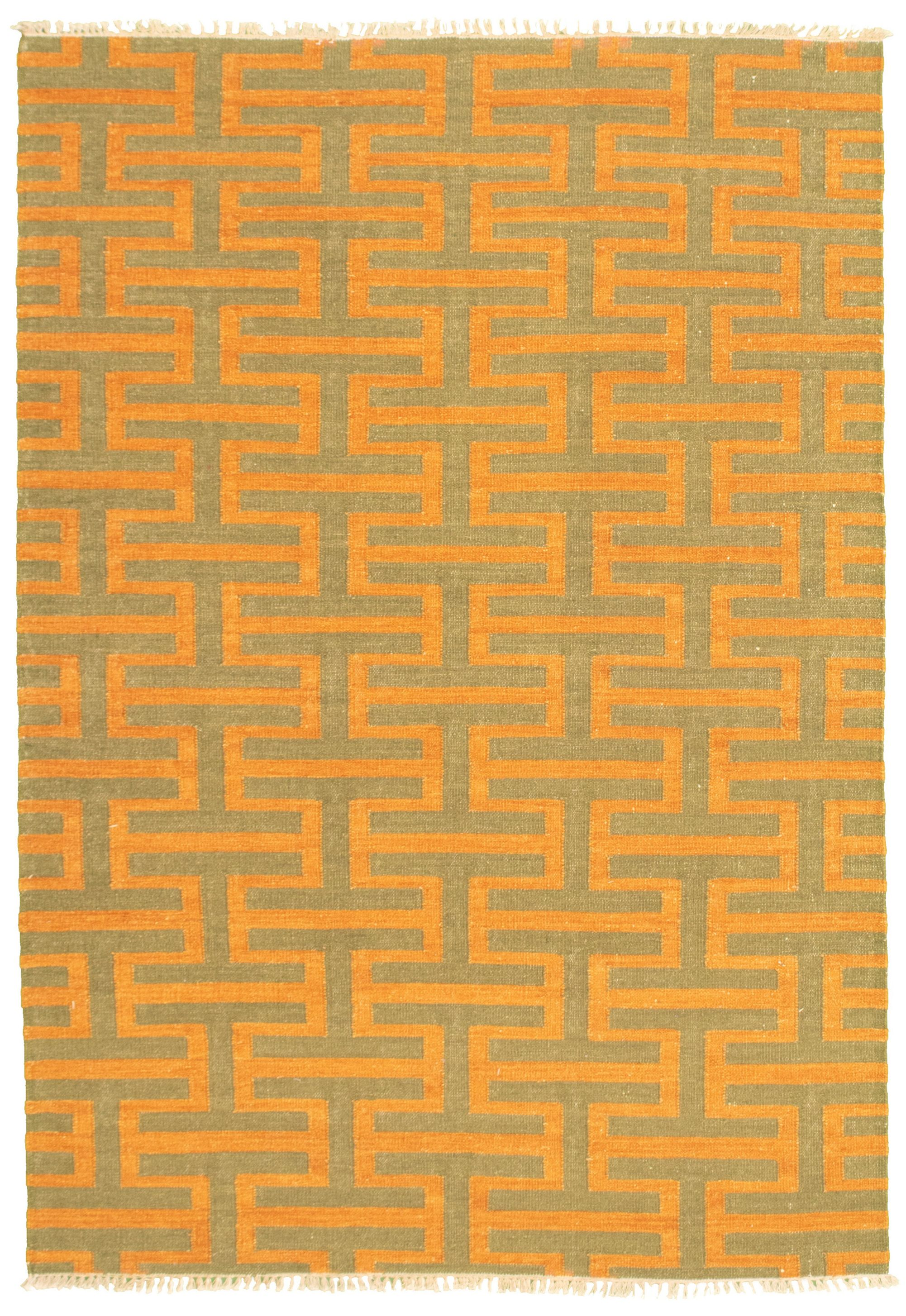 "Hand woven Pure & Organic Orange, Teal Wool Kilim 5'3"" x 7'10"" Size: 5'3"" x 7'10"""