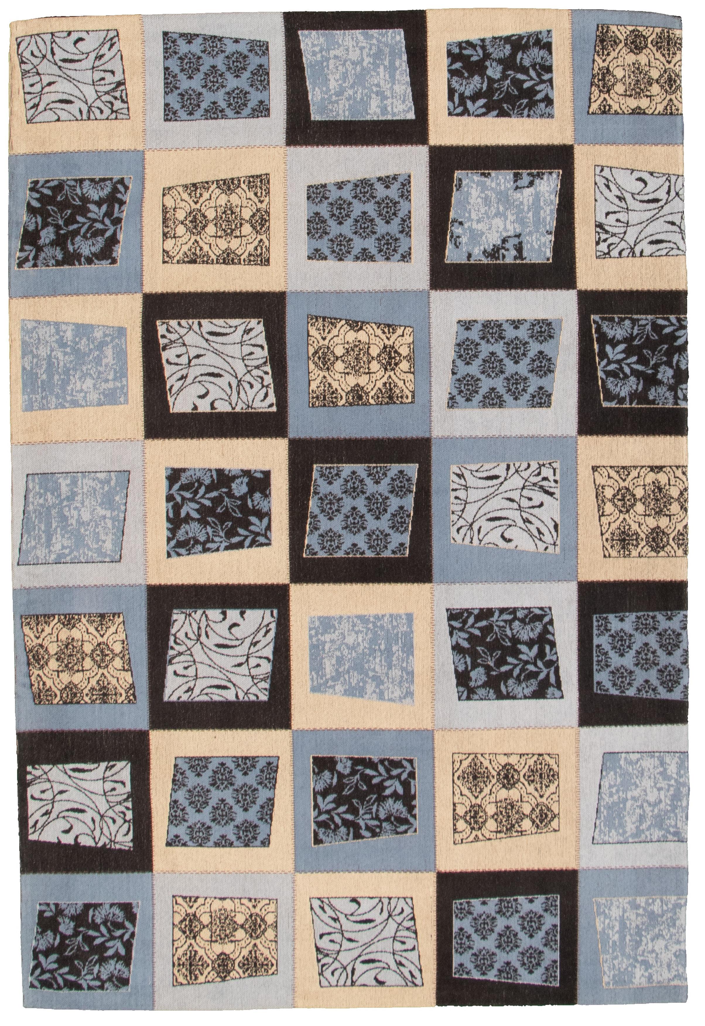 "Handmade Collage Light Blue  microfiber Rug 5'1"" x 7'6"" Size: 5'1"" x 7'6"""