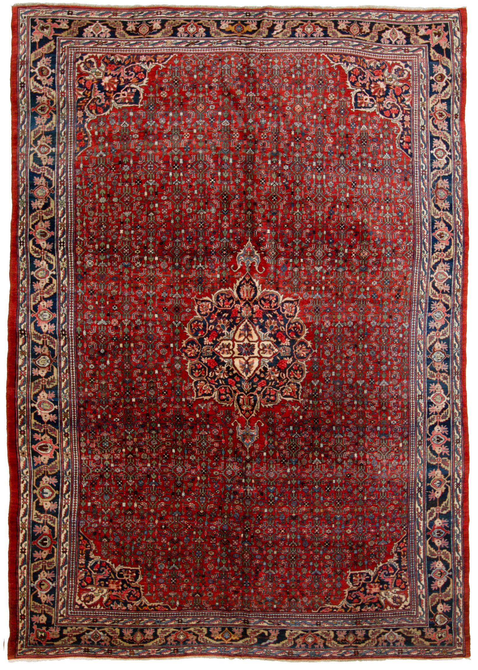 """Hand-knotted Bijar Blue, Red  Rug 8'8"""" x 12'3"""" Size: 8'8"""" x 12'3"""""""