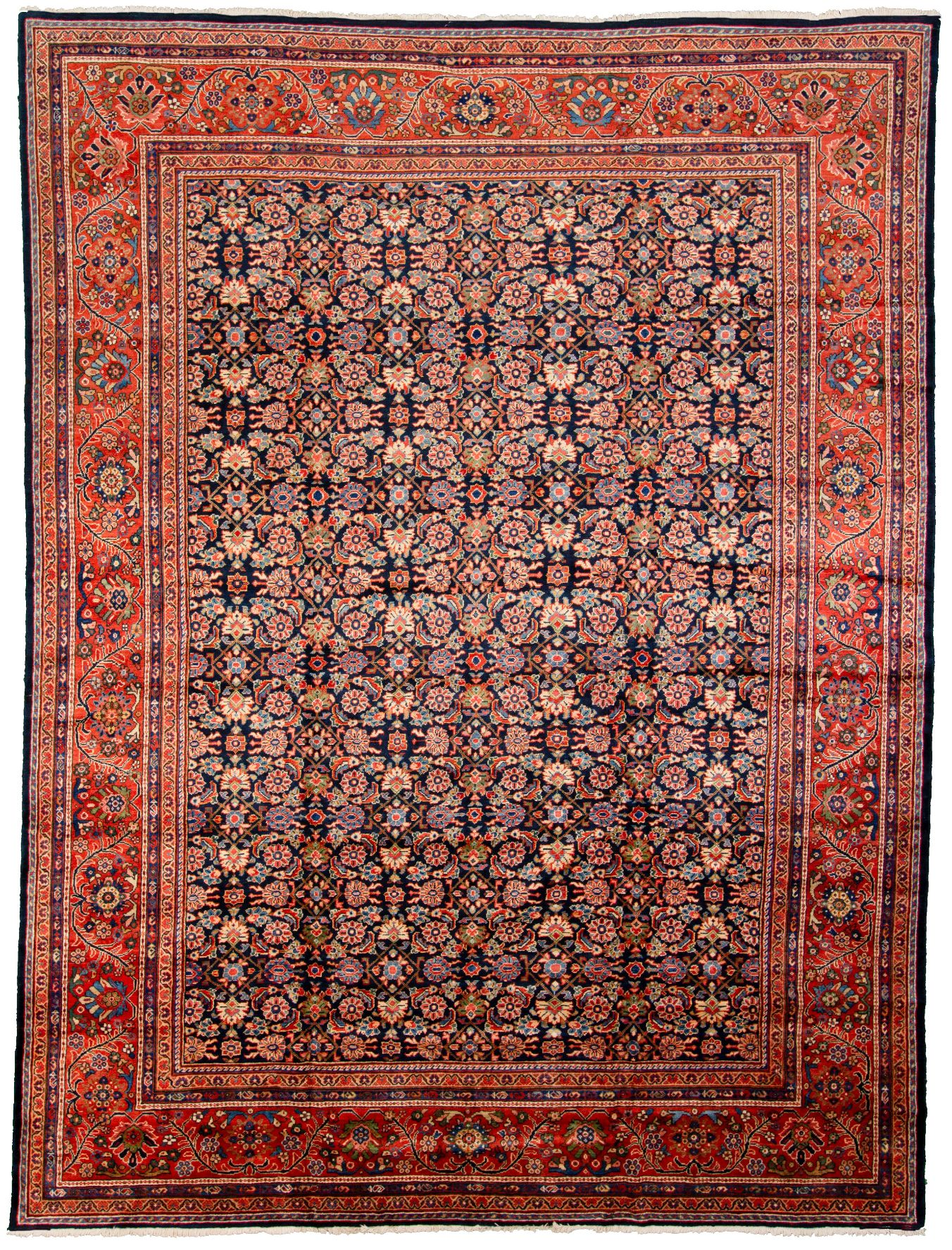 "Hand-knotted Antique Mahal Blue, Red  Rug 11'0"" x 14'3"" Size: 11'0"" x 14'3"""