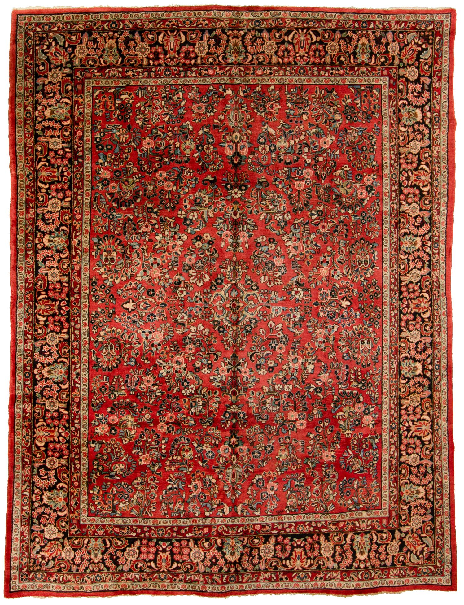"""Hand-knotted Sarough Finest Blue, Red  Rug 9'2"""" x 11'11"""" Size: 9'2"""" x 11'11"""""""