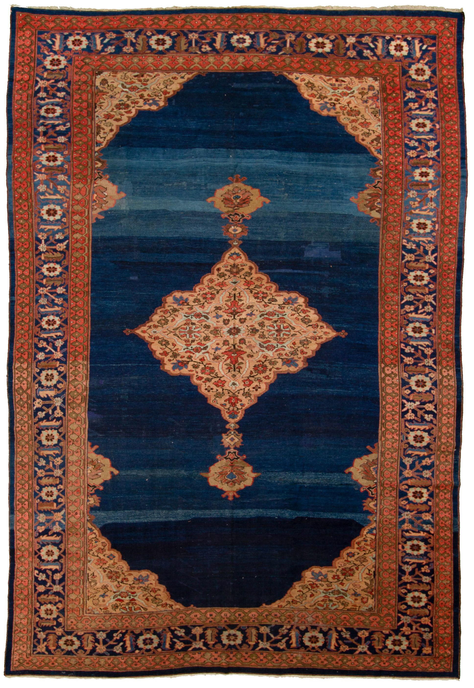 """Hand-knotted Antique Tabriz Blue, Red  Rug 10'0"""" x 15'0"""" Size: 10'0"""" x 15'0"""""""