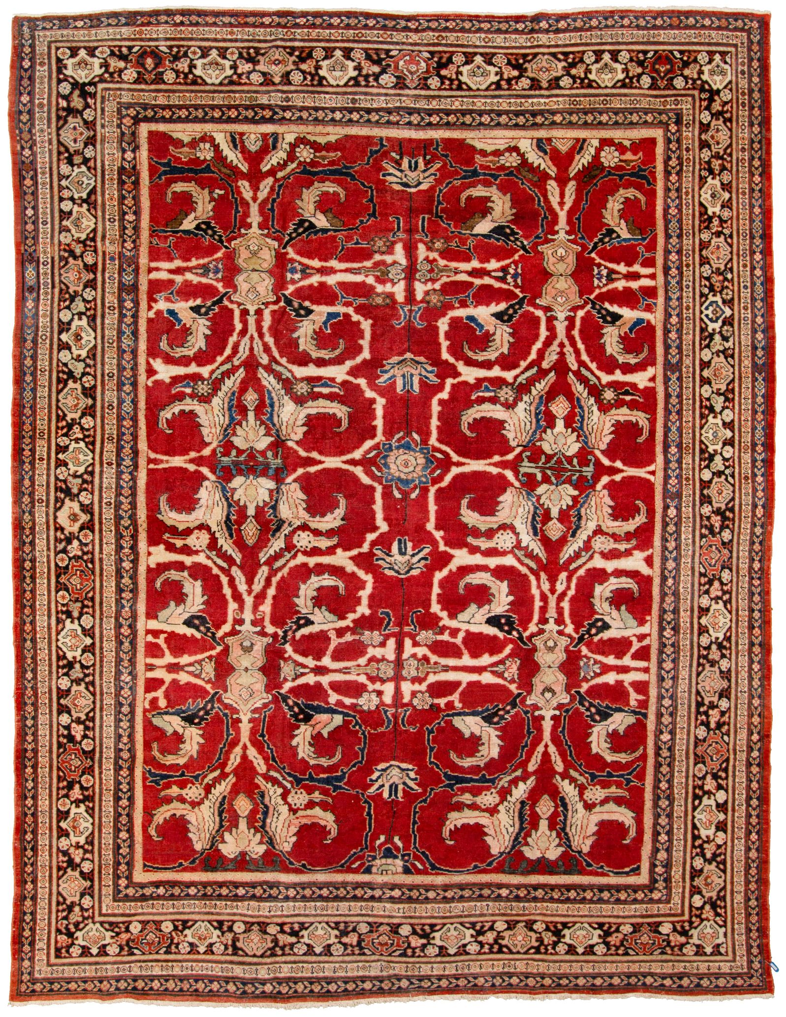 "Hand-knotted Antique Mahal I Black, Red  Rug 10'3"" x 14'6"" Size: 10'3"" x 14'6"""
