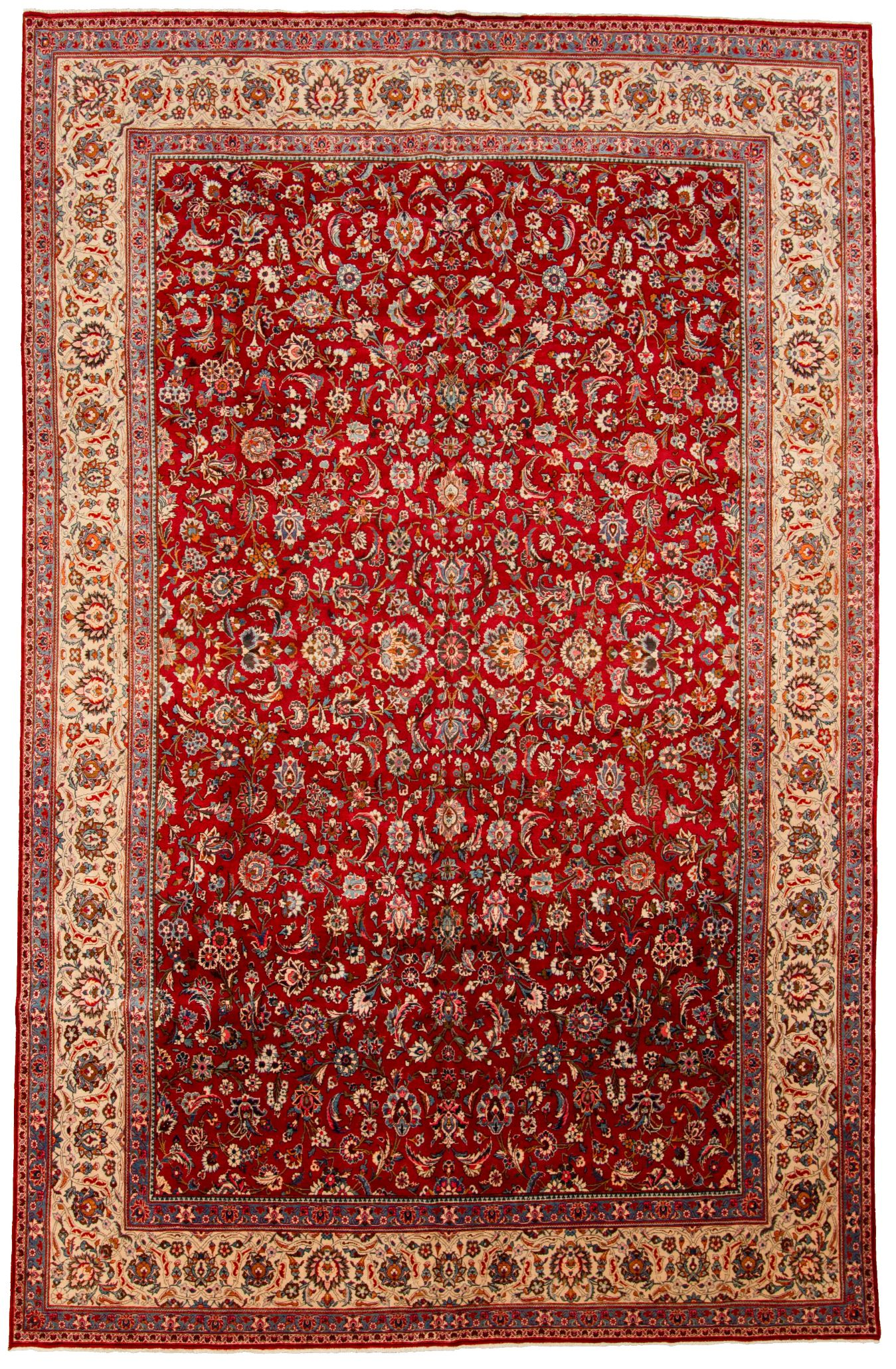 """Hand-knotted Antique Kashan Blue, Red  Rug 8'10"""" x 13'11"""" Size: 8'10"""" x 13'11"""""""
