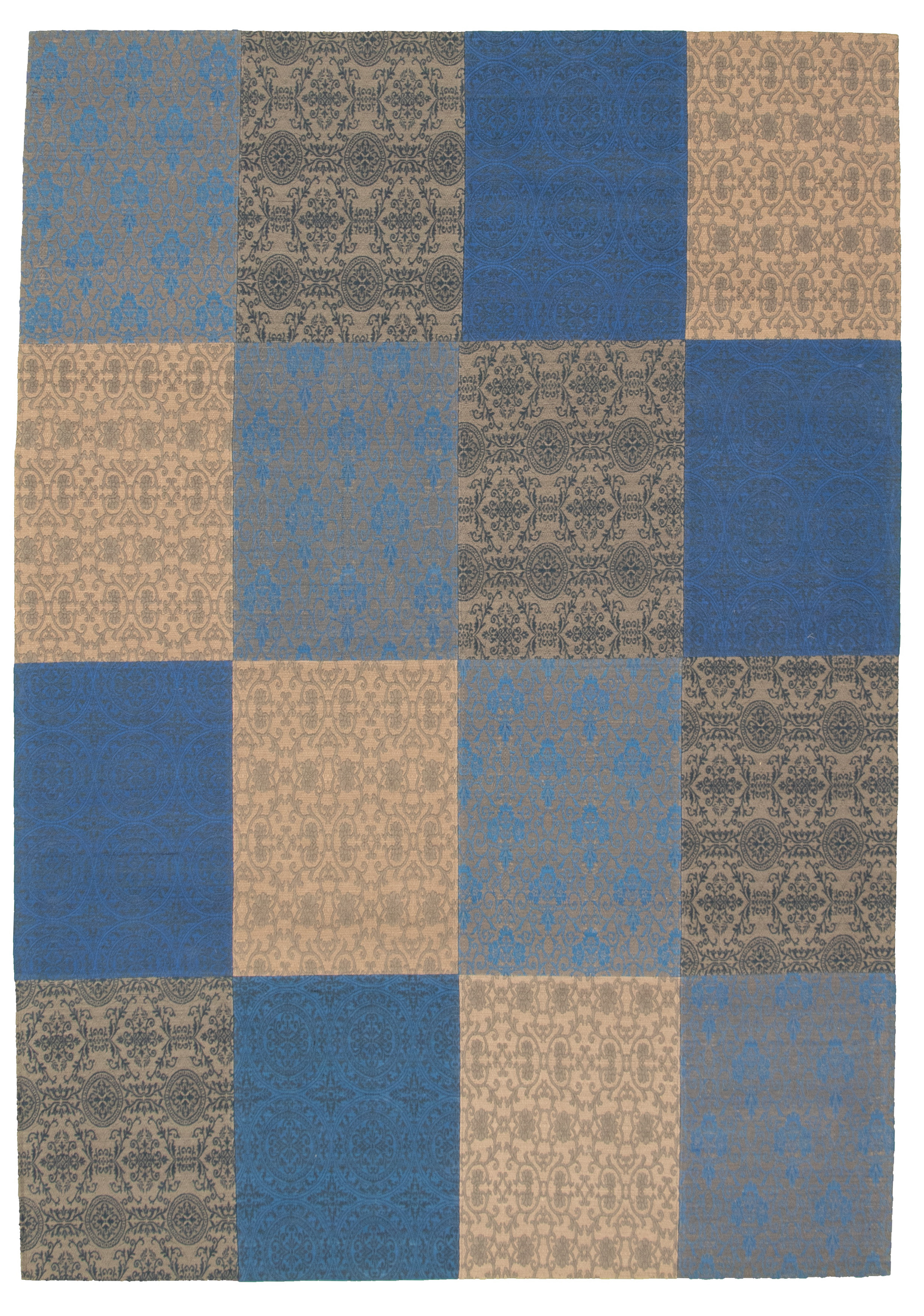 """Handmade Collage Blue Chenille Rug 6'8"""" x 9'9"""" Size: 6'8"""" x 9'9"""""""