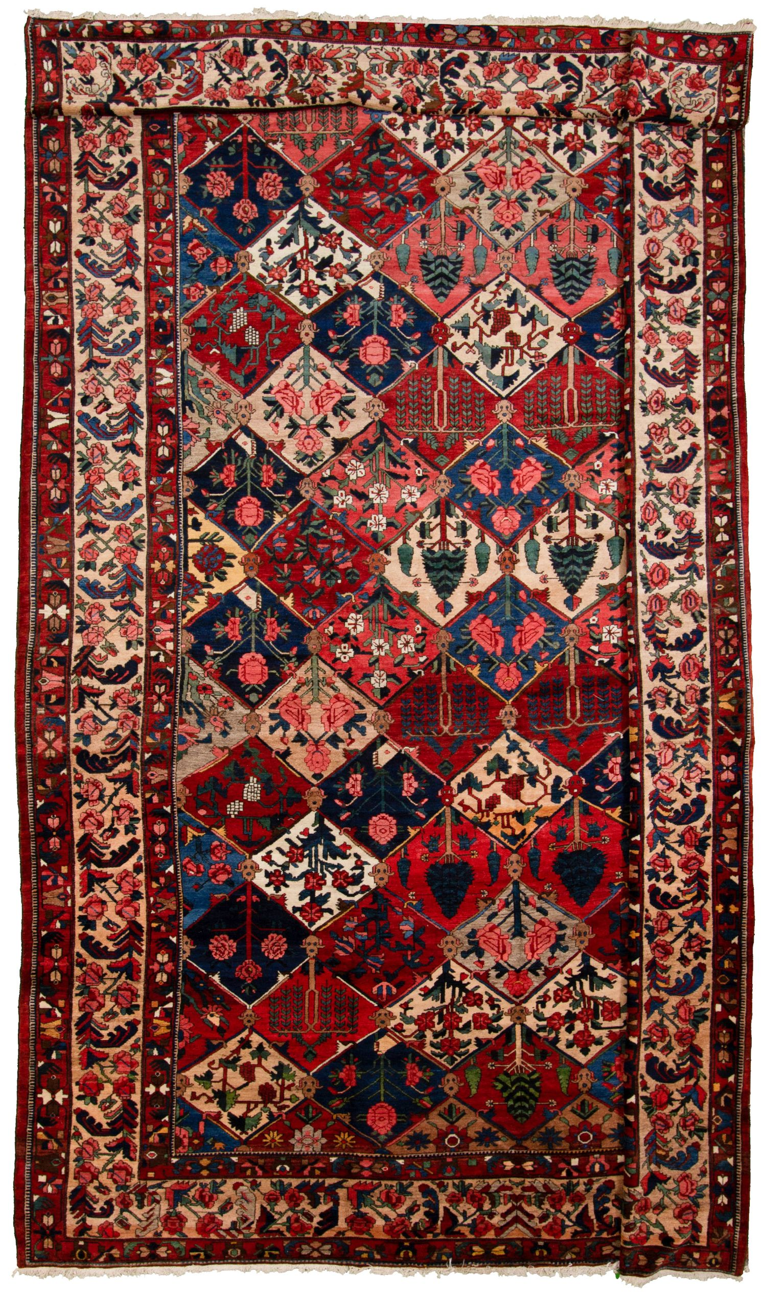 """Hand-knotted Bakhtiar I Blue, Dark Red  Rug 11'11"""" x 17'11"""" Size: 11'11"""" x 17'11"""""""