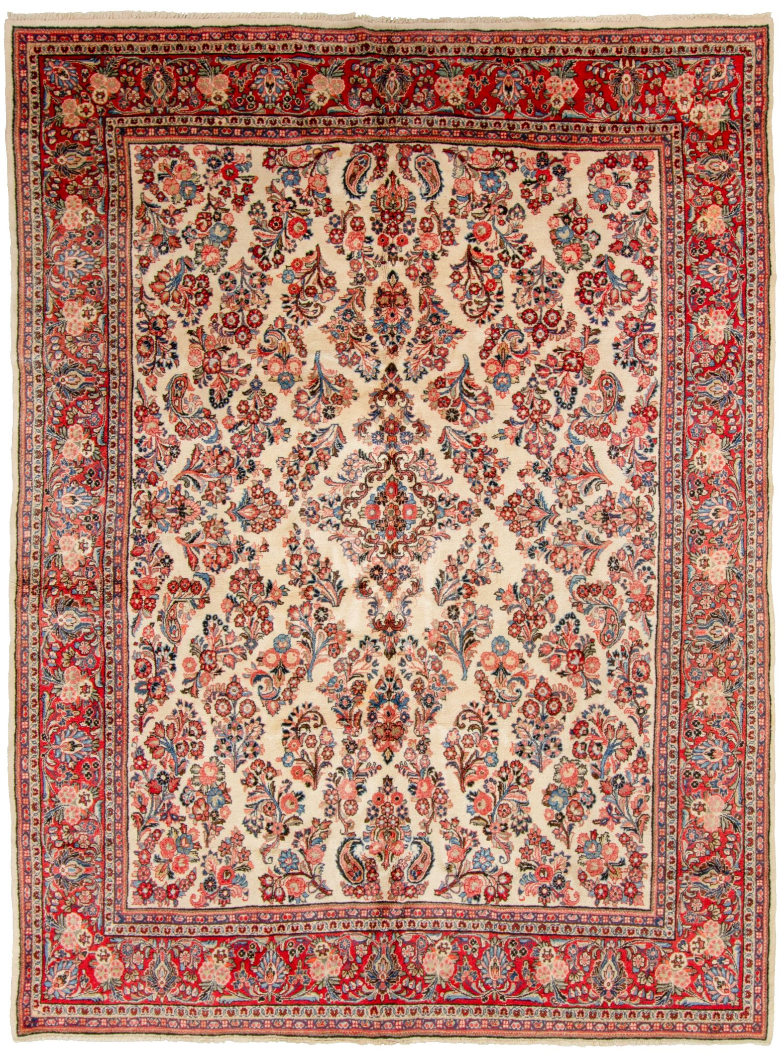 "Hand-knotted Sarough Finest Beige, Blue  Rug 9'0"" x 12'4"" Size: 9'0"" x 12'4"""