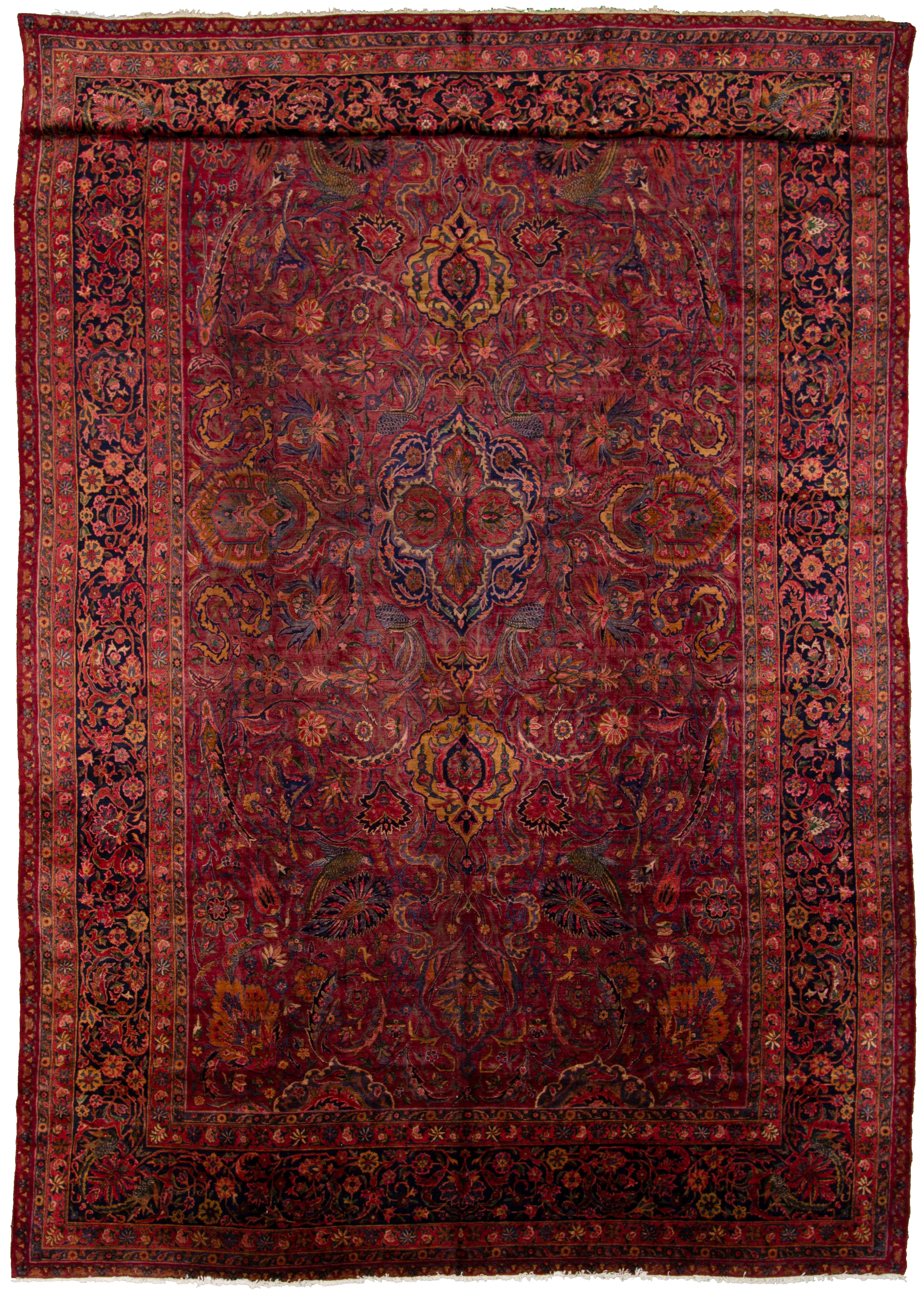 """Hand-knotted Antique Kashan Blue, Red  Rug 10'8"""" x 18'3"""" Size: 10'8"""" x 18'3"""""""