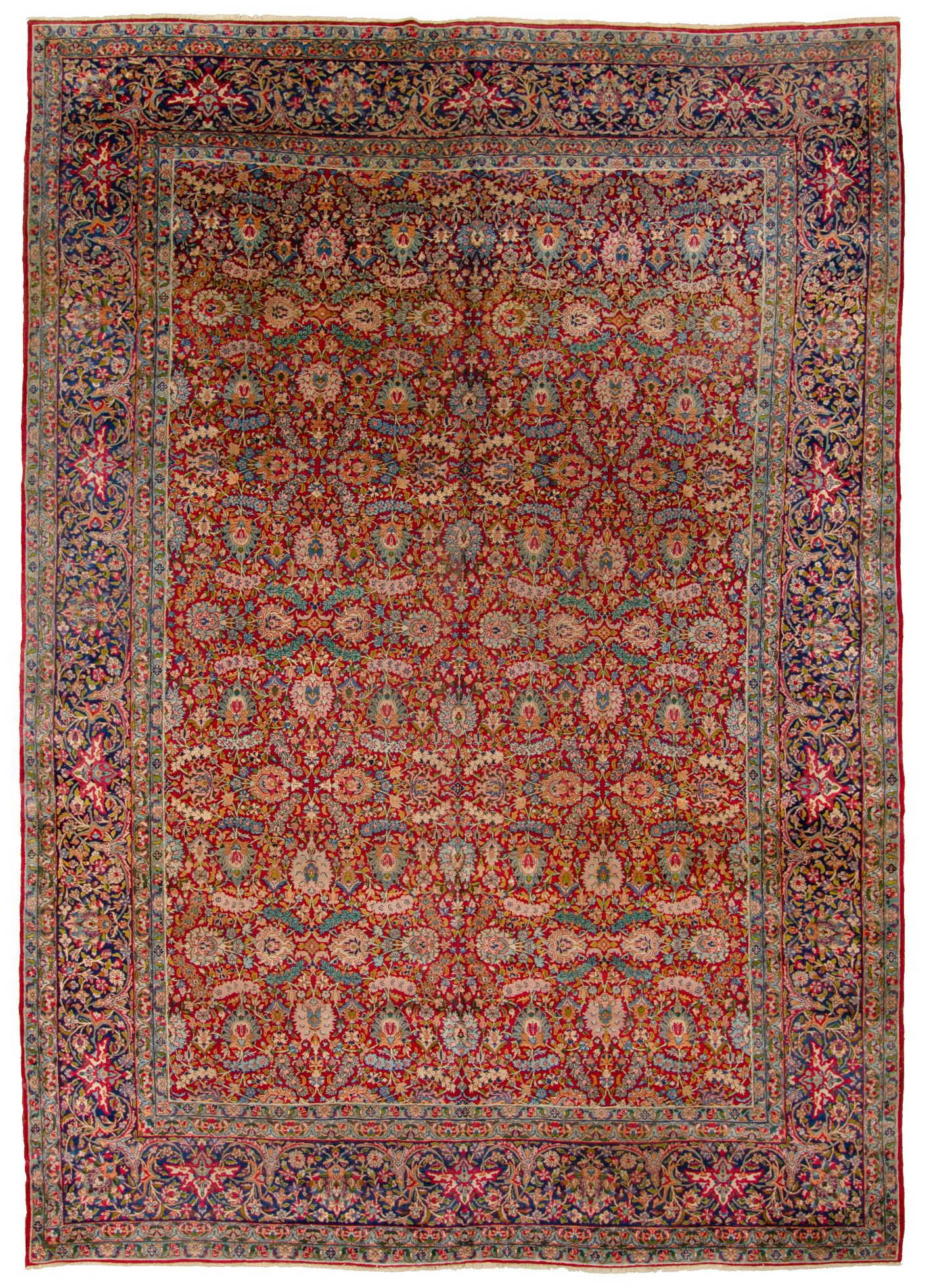 "Hand-knotted Antique Kerman I Blue, Red  Rug 9'11"" x 13'9"" Size: 9'11"" x 13'9"""