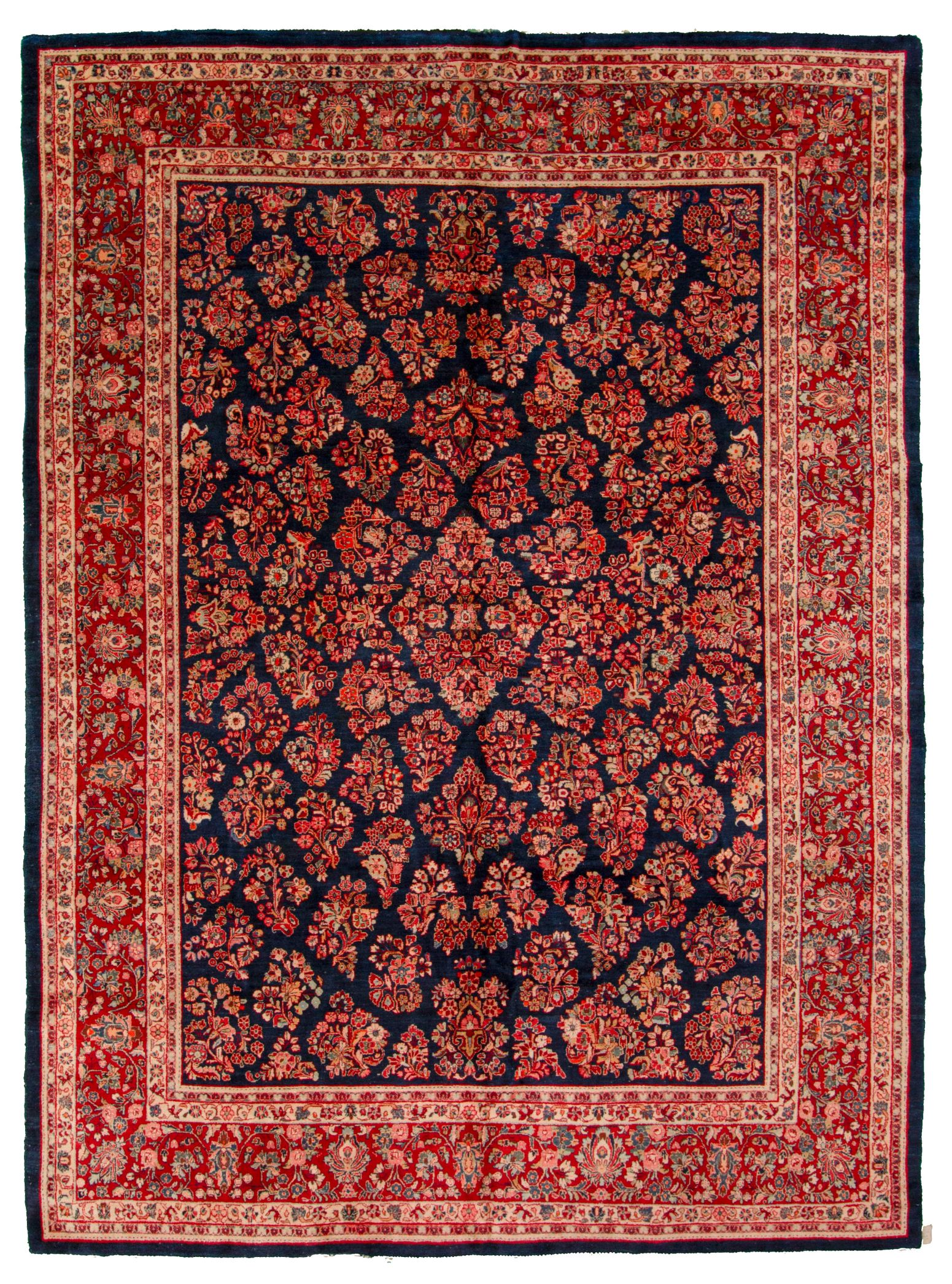 """Hand-knotted Sarough Blue, Red  Rug 10'6"""" x 14'3"""" Size: 10'6"""" x 14'3"""""""